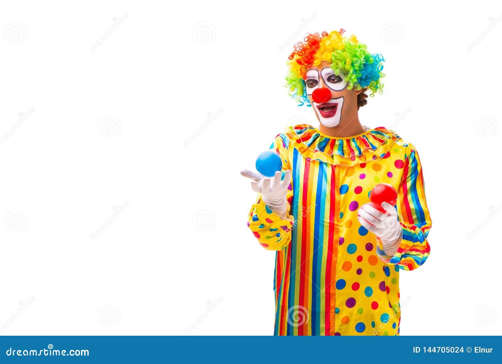 De mannelijke die clown op wit wordt ge?soleerd