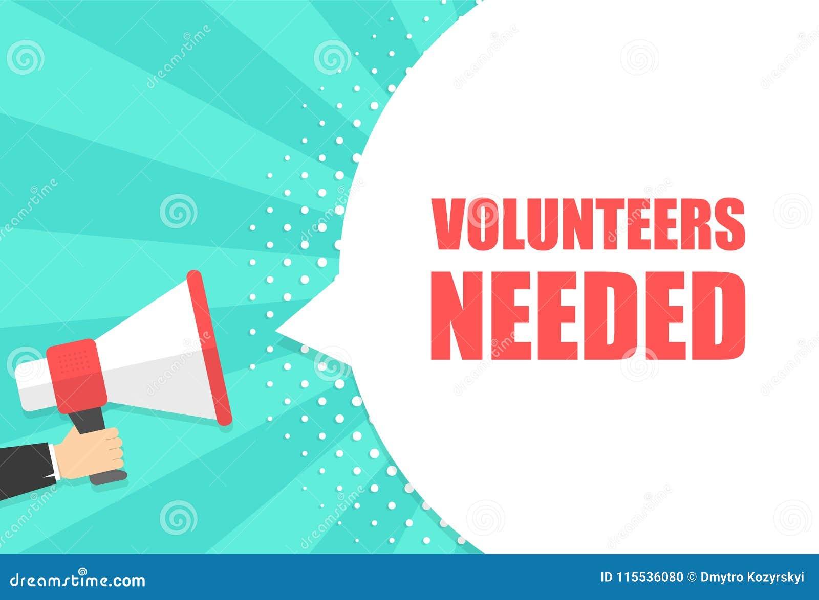 De mannelijke megafoon van de handholding met vrijwilligers nodig toespraakbel luidspreker Banner voor zaken, die op de markt bre
