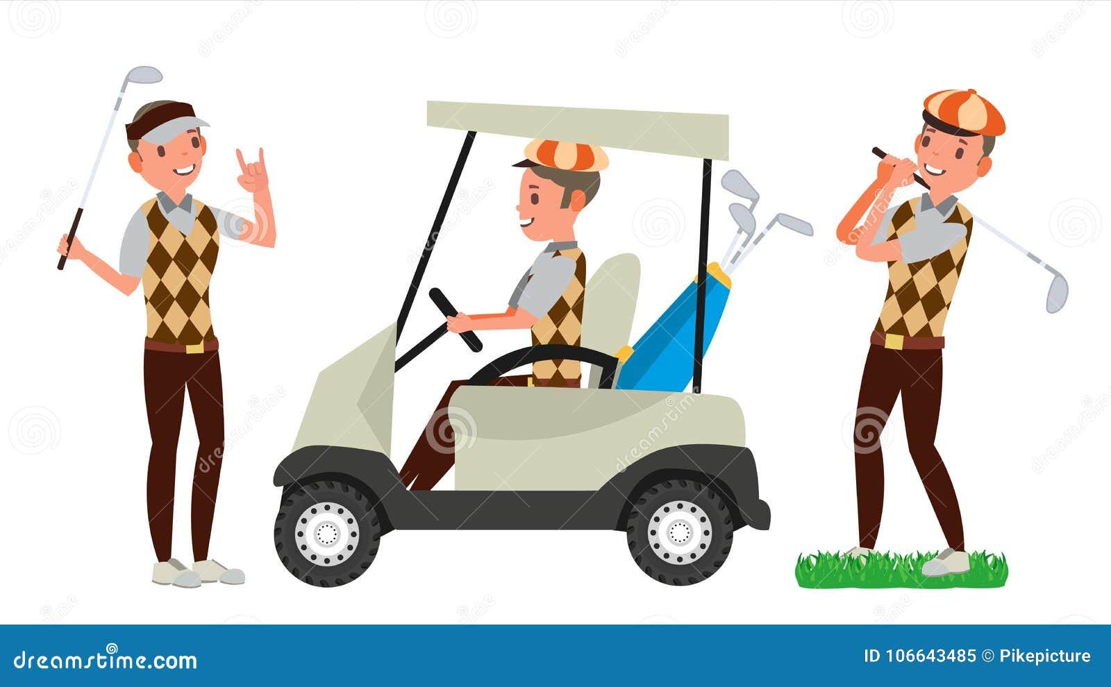De Mannelijke Vector van de golfspeler Het raken van golfbal Speel mens Verschillend stelt De Illustratie van het beeldverhaalkar