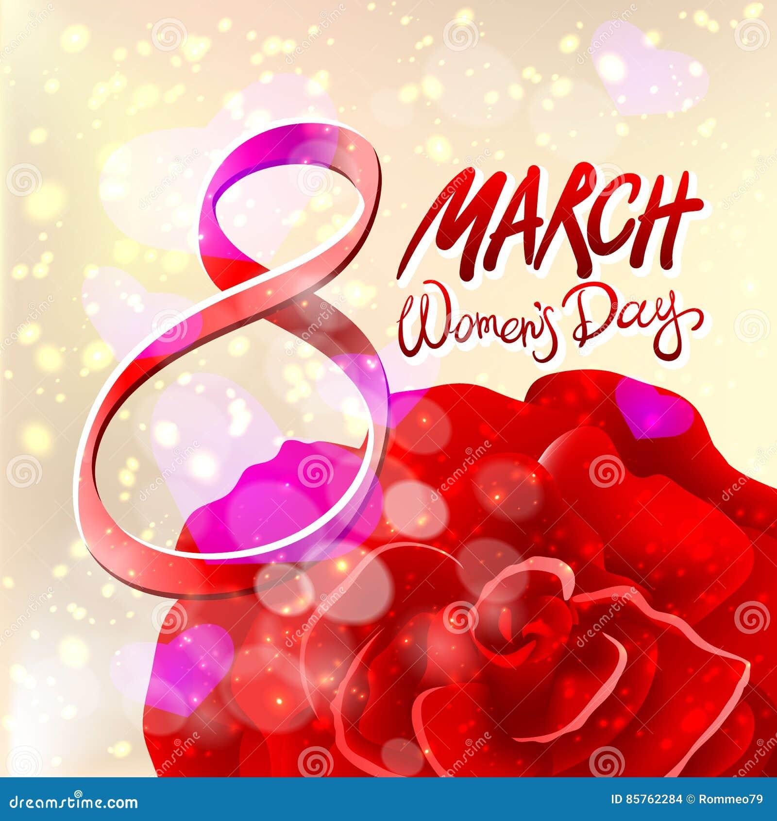 8 de março cartão O dia da mulher internacional Vetor O vermelho levantou-se Fundo claro
