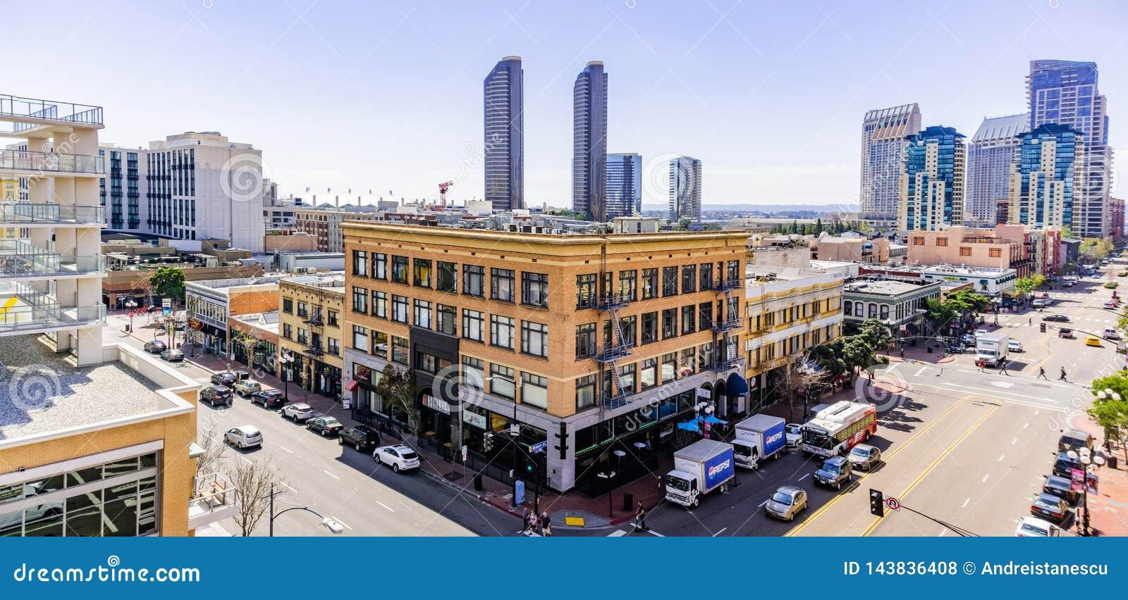 19 de março de 2019 San Diego/CA/EUA - paisagem urbana no quarto de Gaslamp em San Diego do centro
