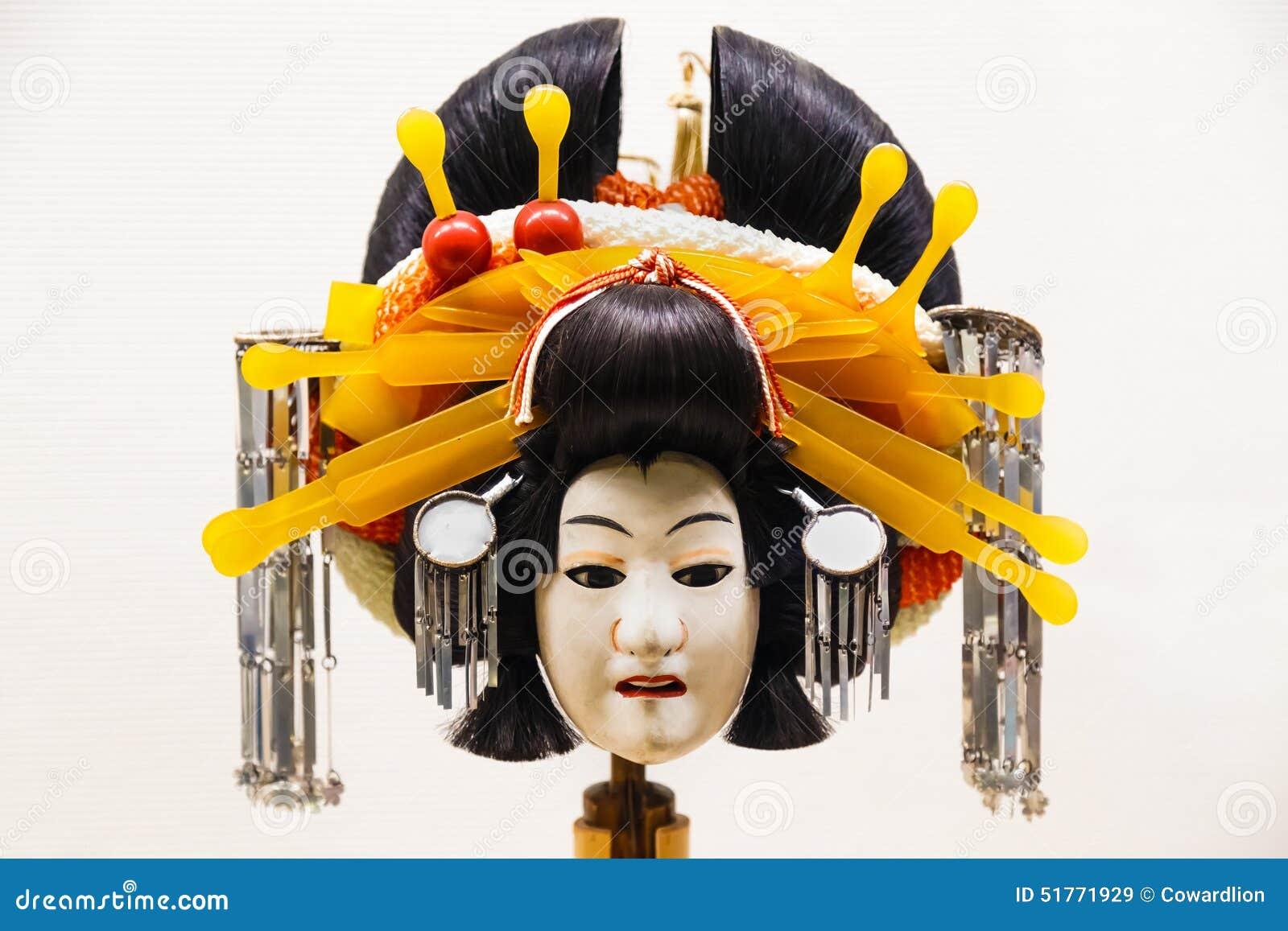 De marionet die in Bunraku gebruikte (Japans Marionettenspel
