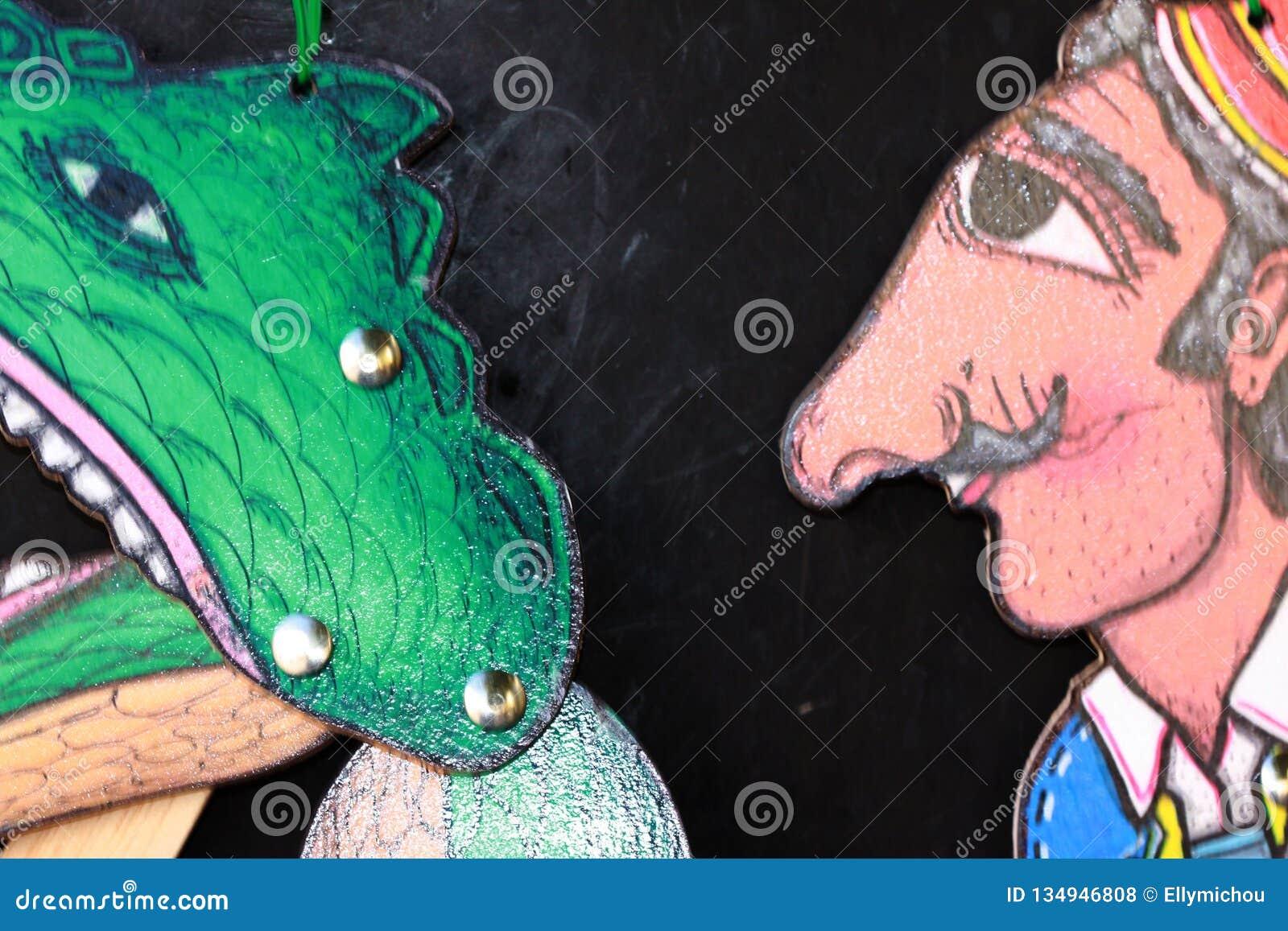 De marionetten van de Karagiozisschaduw