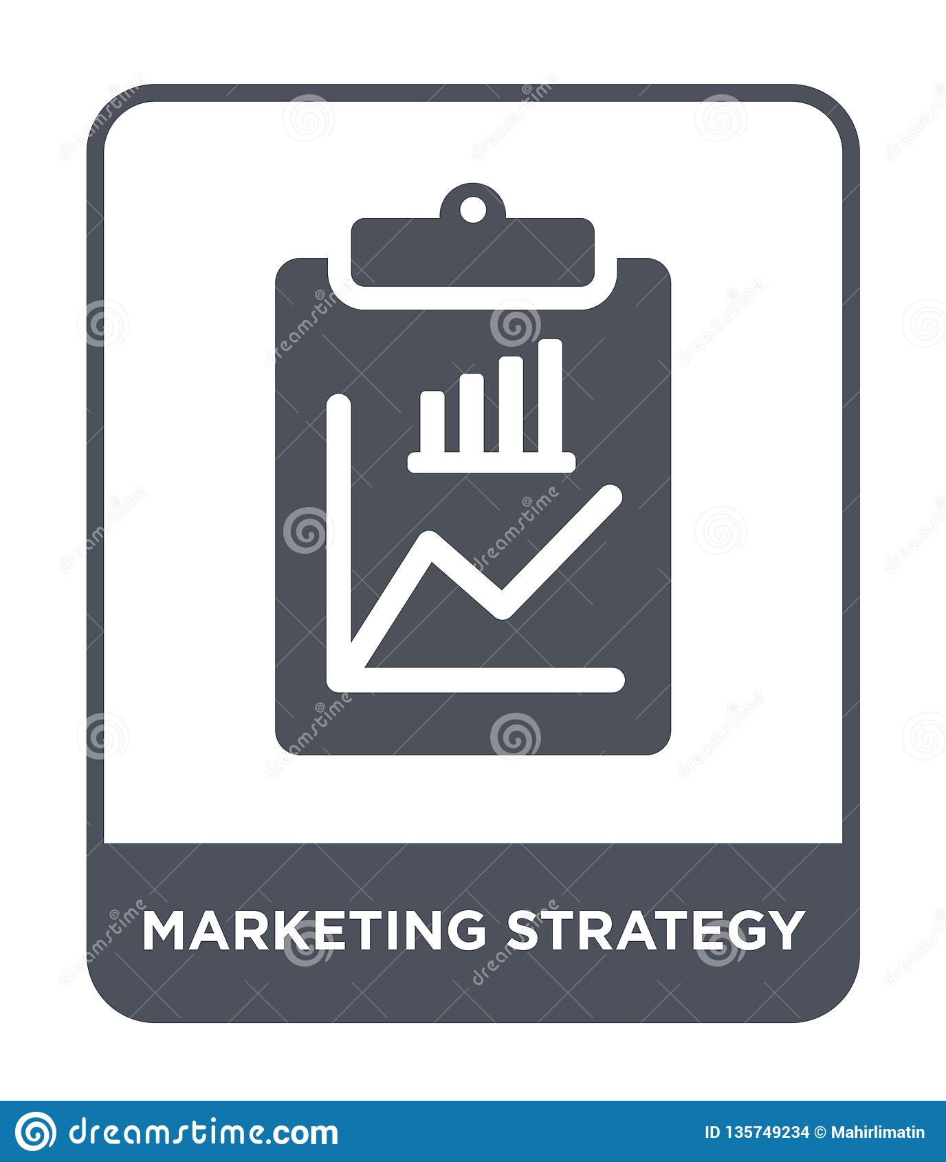 De marketing van strategiepictogram in in ontwerpstijl op de markt brengend strategiepictogram op witte achtergrond wordt geïsole