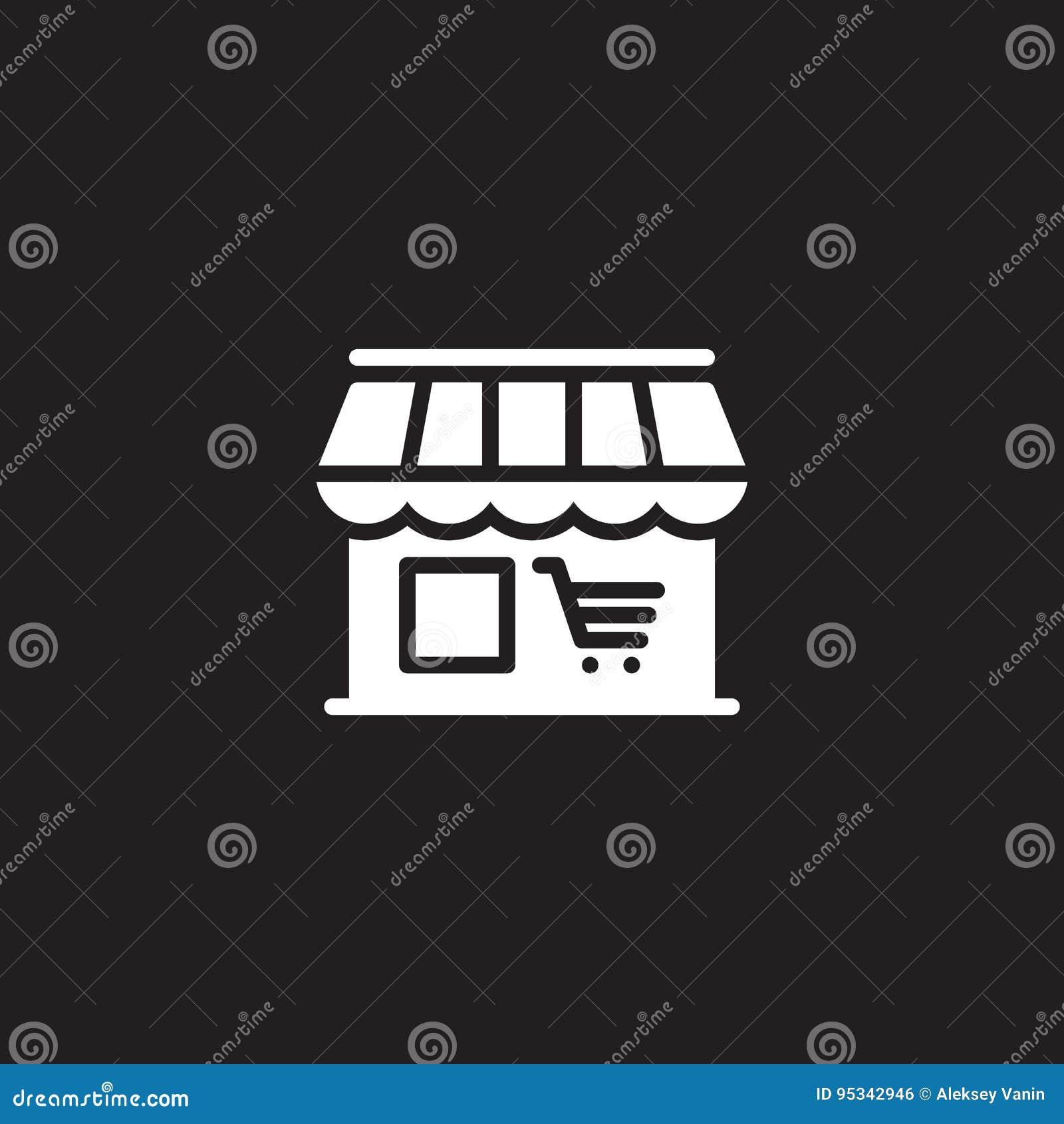 De markt, de vector van het winkelpictogram, vulde vlak teken, stevig wit die pictogram op zwarte wordt geïsoleerd