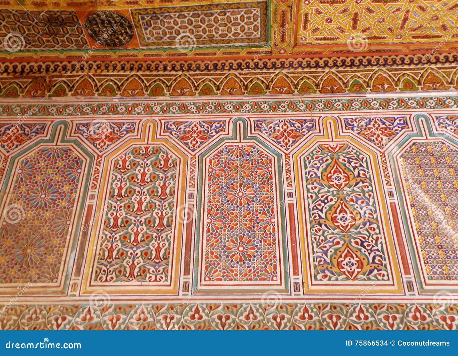 De marokkaanse decoratie van de stijl kleurrijke muur in bahia