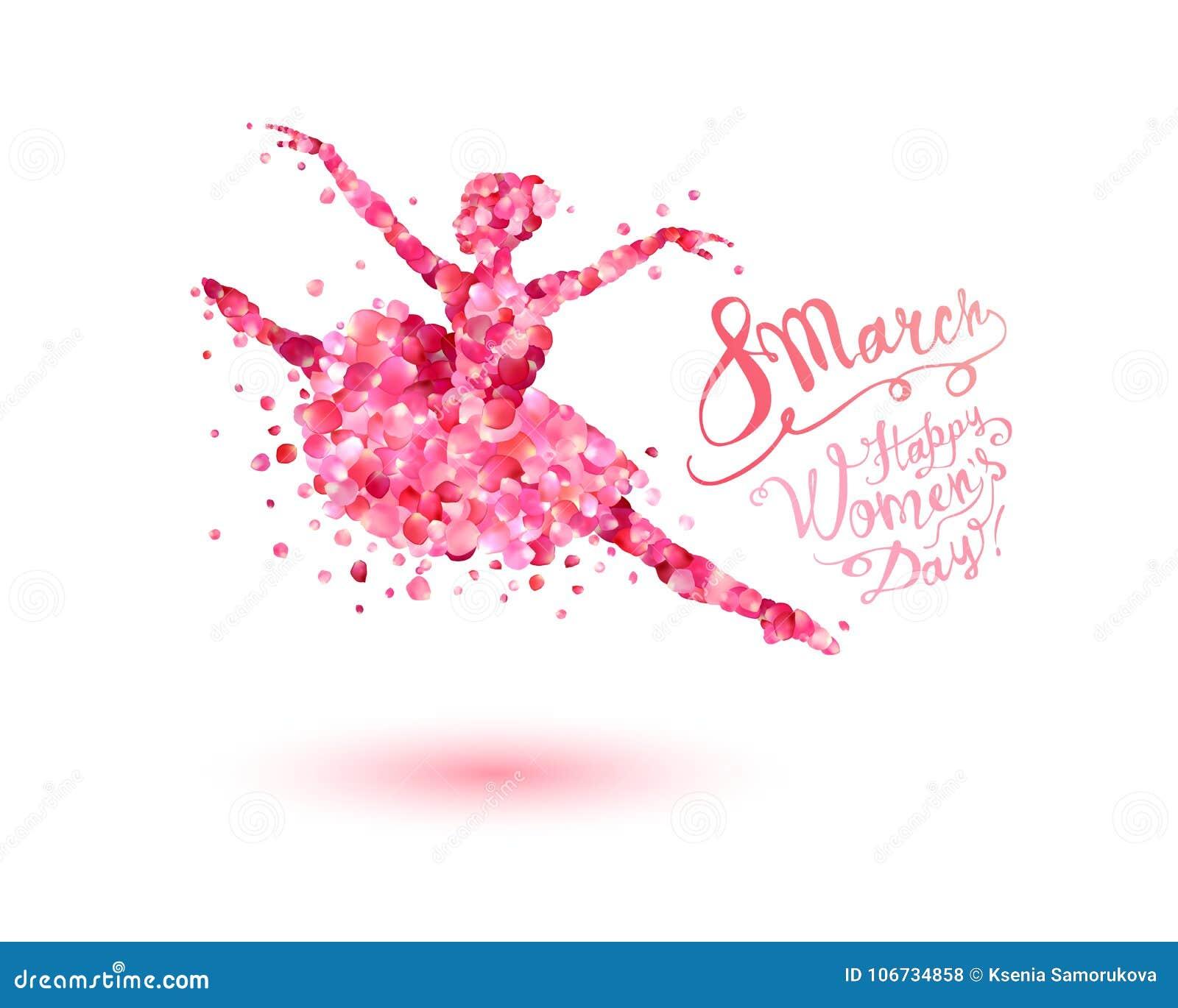 8 de marzo ¡Día feliz del ` s de las mujeres! Mujer del baile de pétalos color de rosa