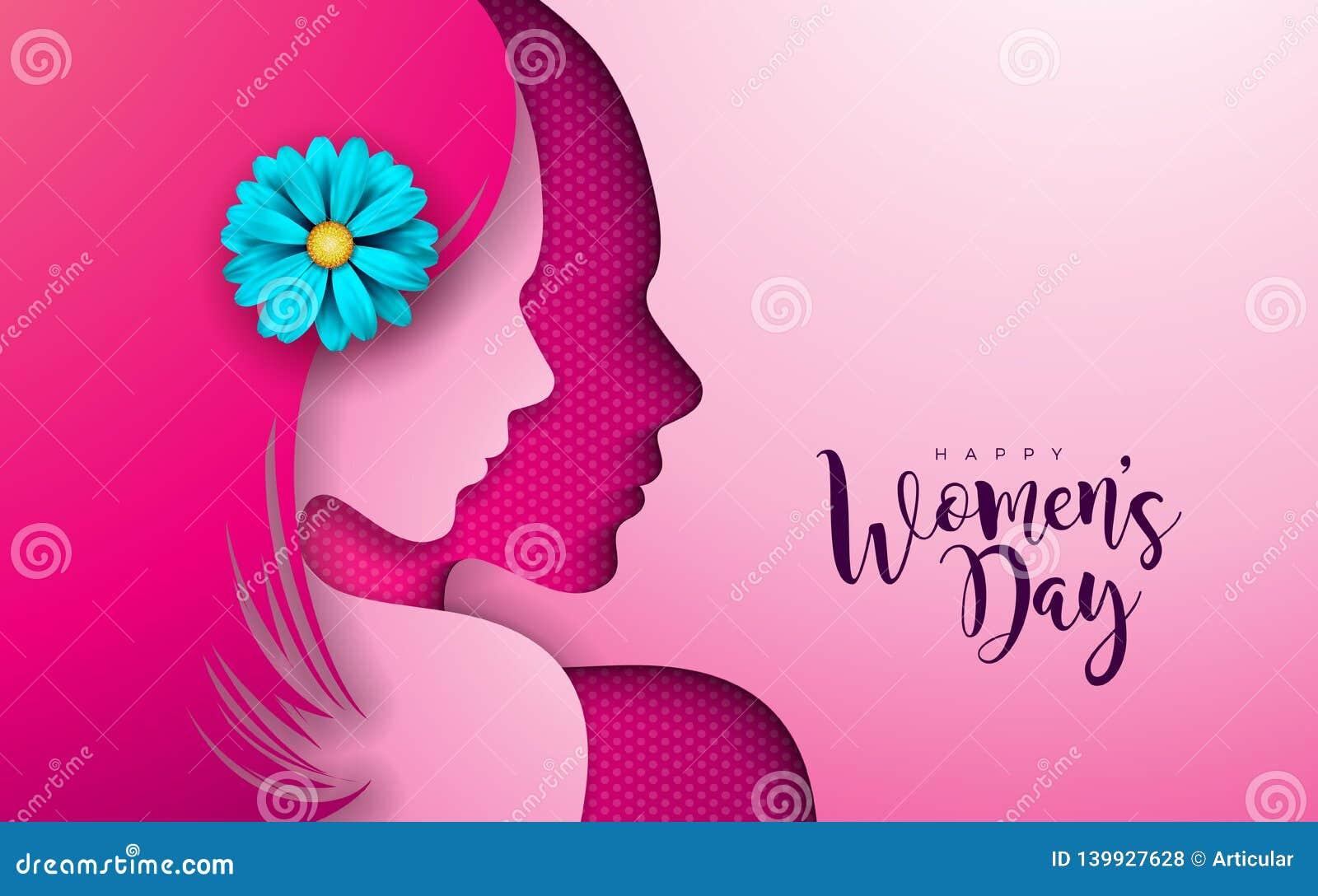 8 de marzo Diseño para mujer de la tarjeta de felicitación del día con la silueta y la flor de la mujer joven Día de fiesta femen