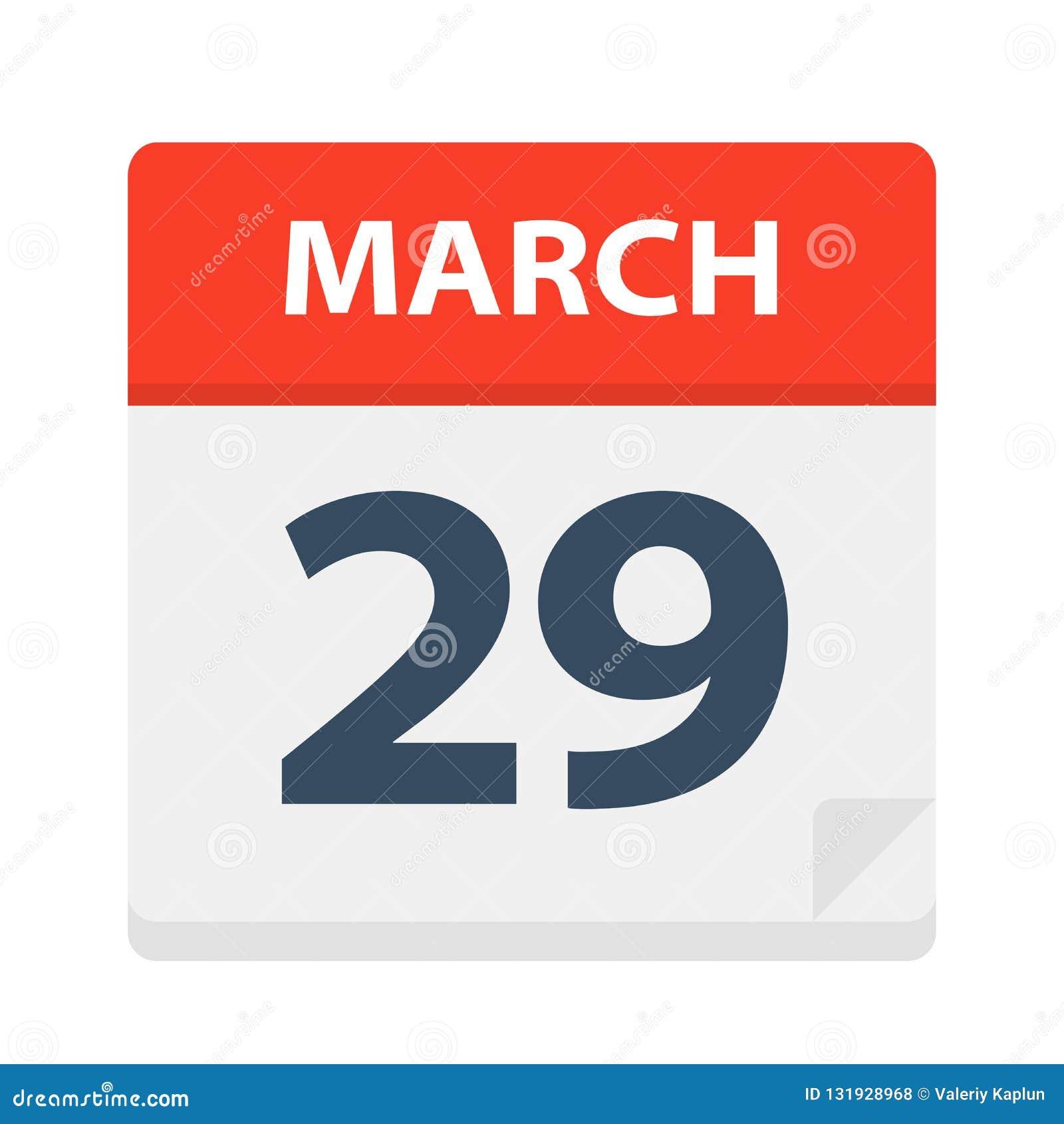 29 de marzo - icono del calendario