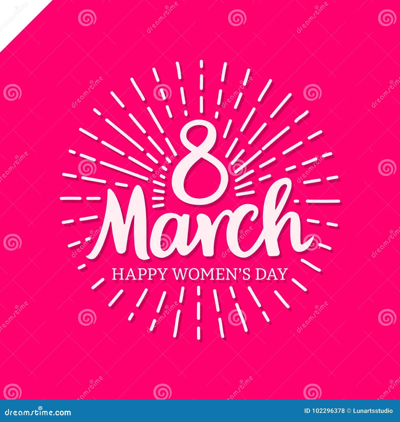 8 De Marzo Letras De Día Del ` S De Las Mujeres Con La Línea Del ...
