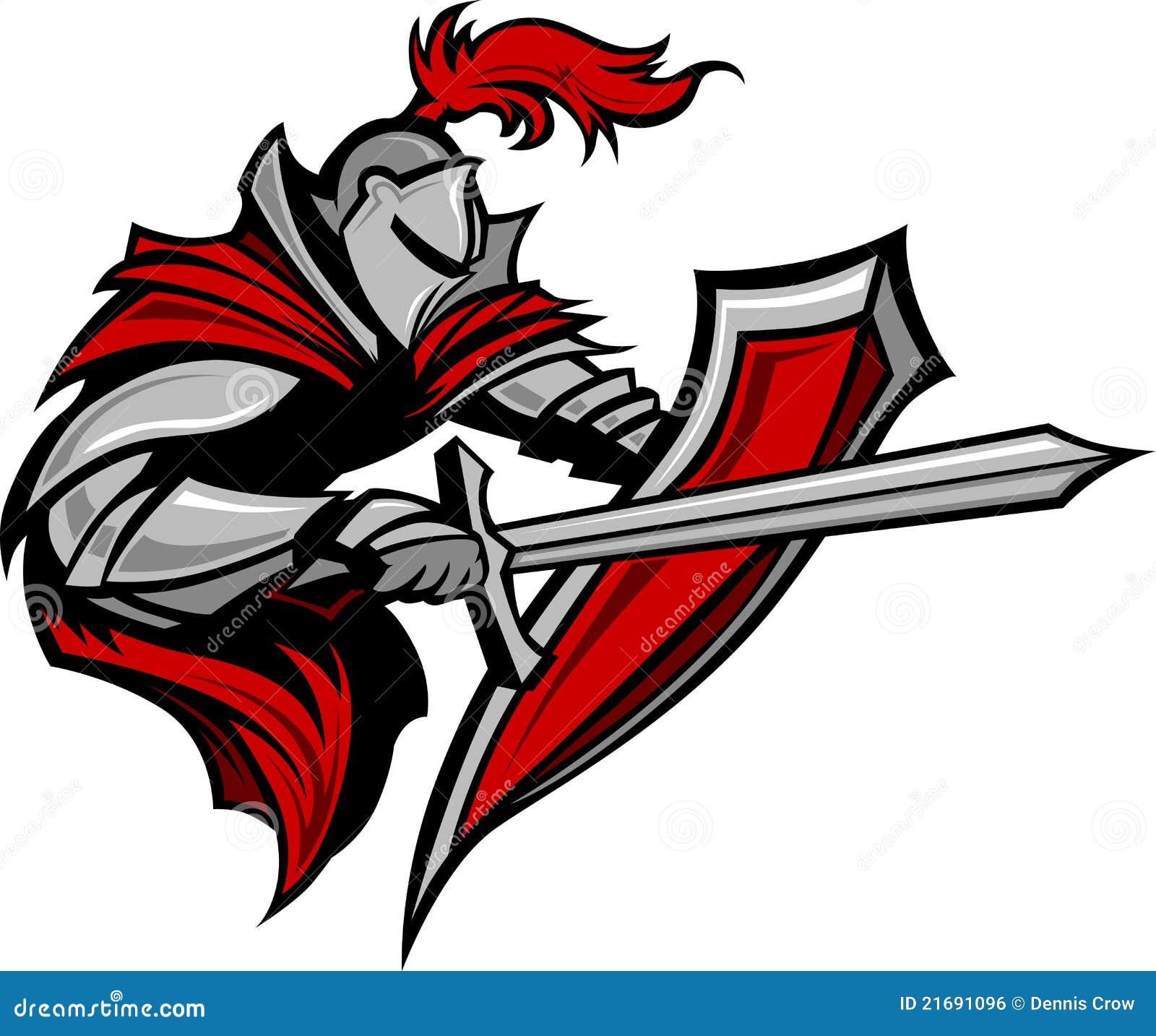 De Mascotte van de Strijder van de ridder met Zwaard en Schild