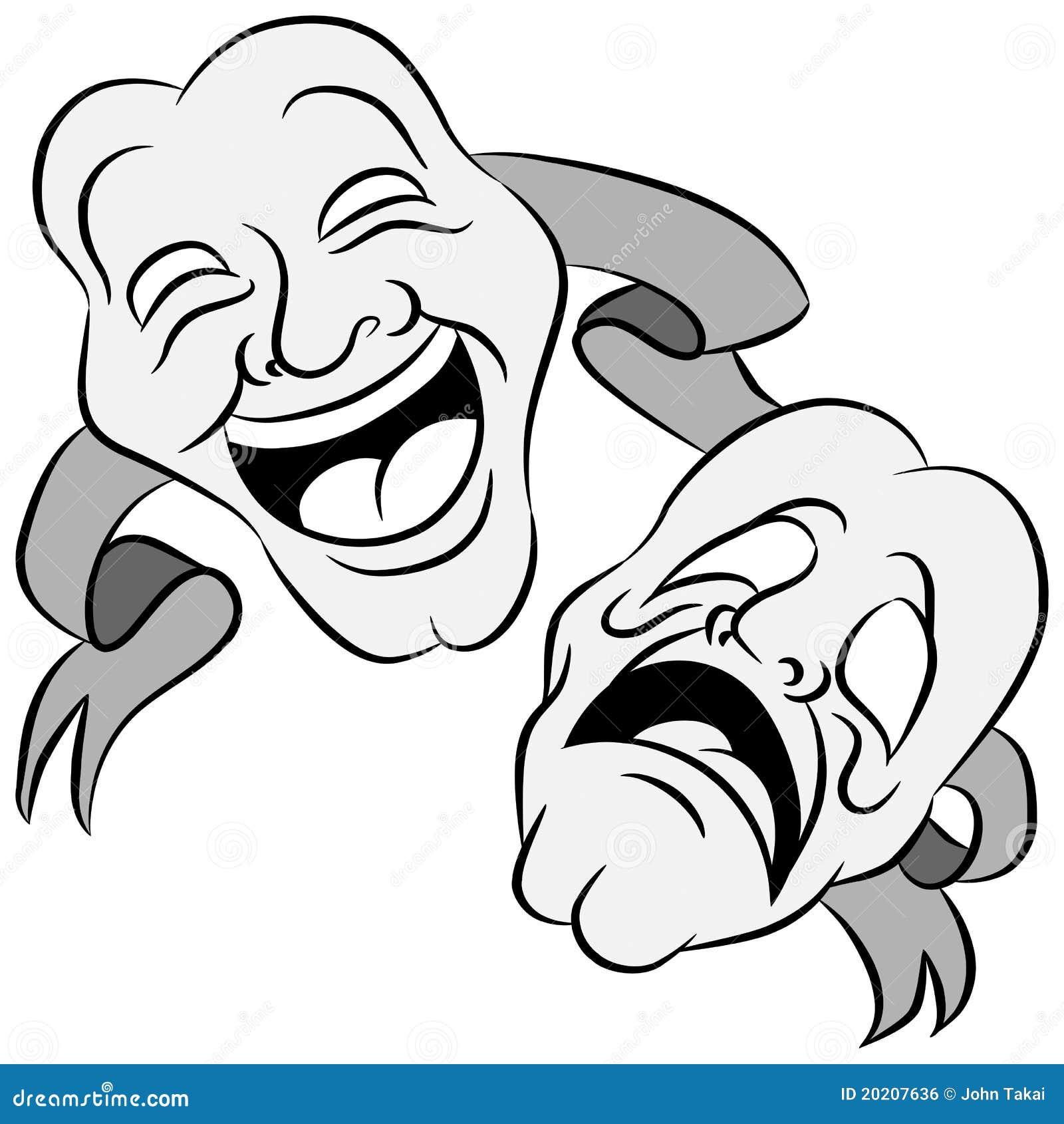 De Maskers Van Het Drama Royalty-vrije Stock Afbeelding - Beeld ...