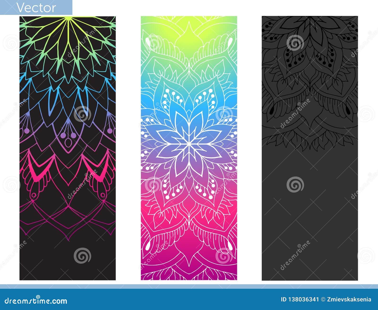 De mat van de ontwerpyoga Elementen van Mandala Oosters patroon op zwarte, grafiet en regenboogachtergrond