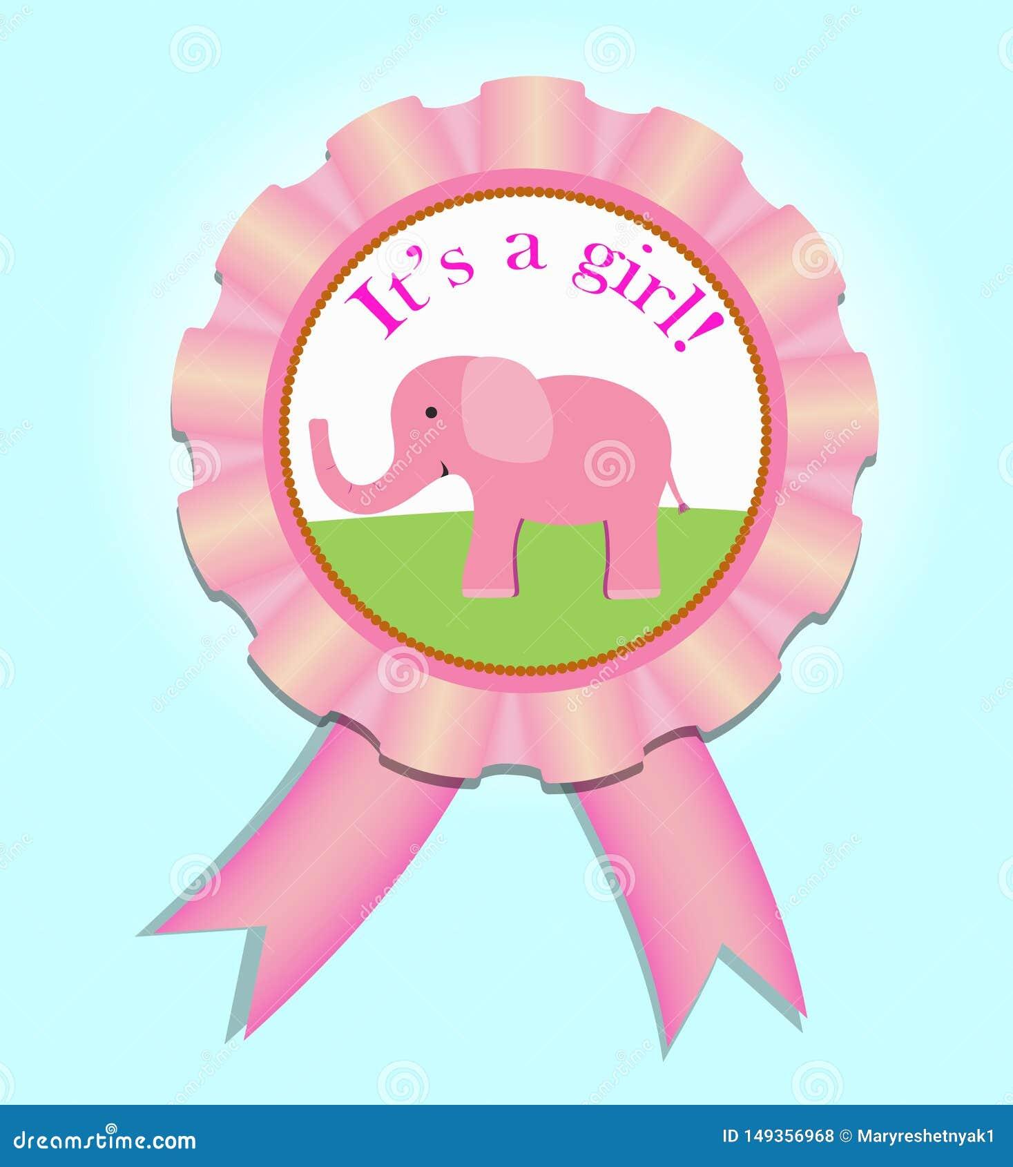 De medaille van het groetsatijn voor babymeisje De illustratie van de babydouche
