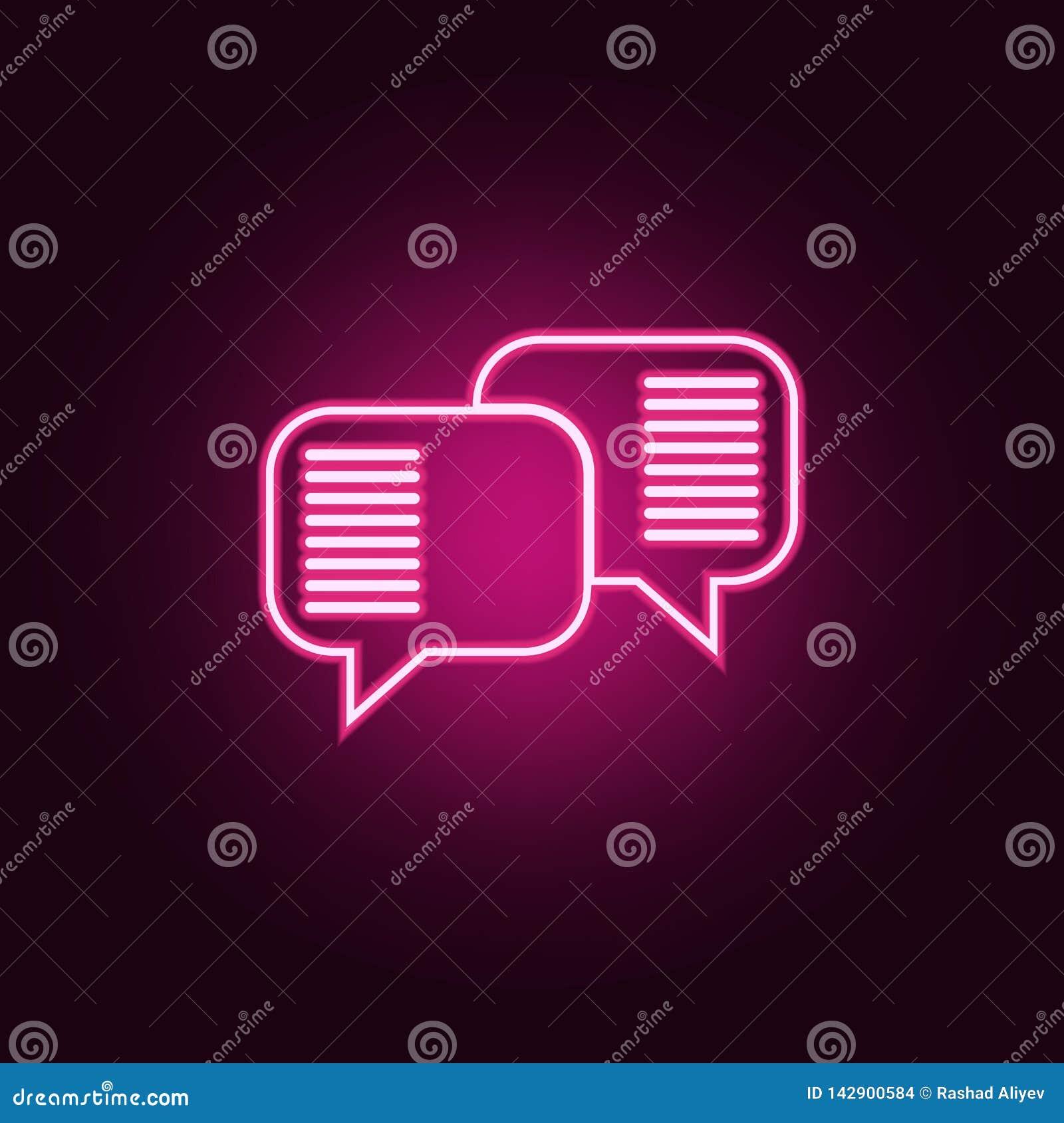 De mededeling borrelt pictogram Elementen van Gesprek en Vriendschap in de pictogrammen van de neonstijl Eenvoudig pictogram voor