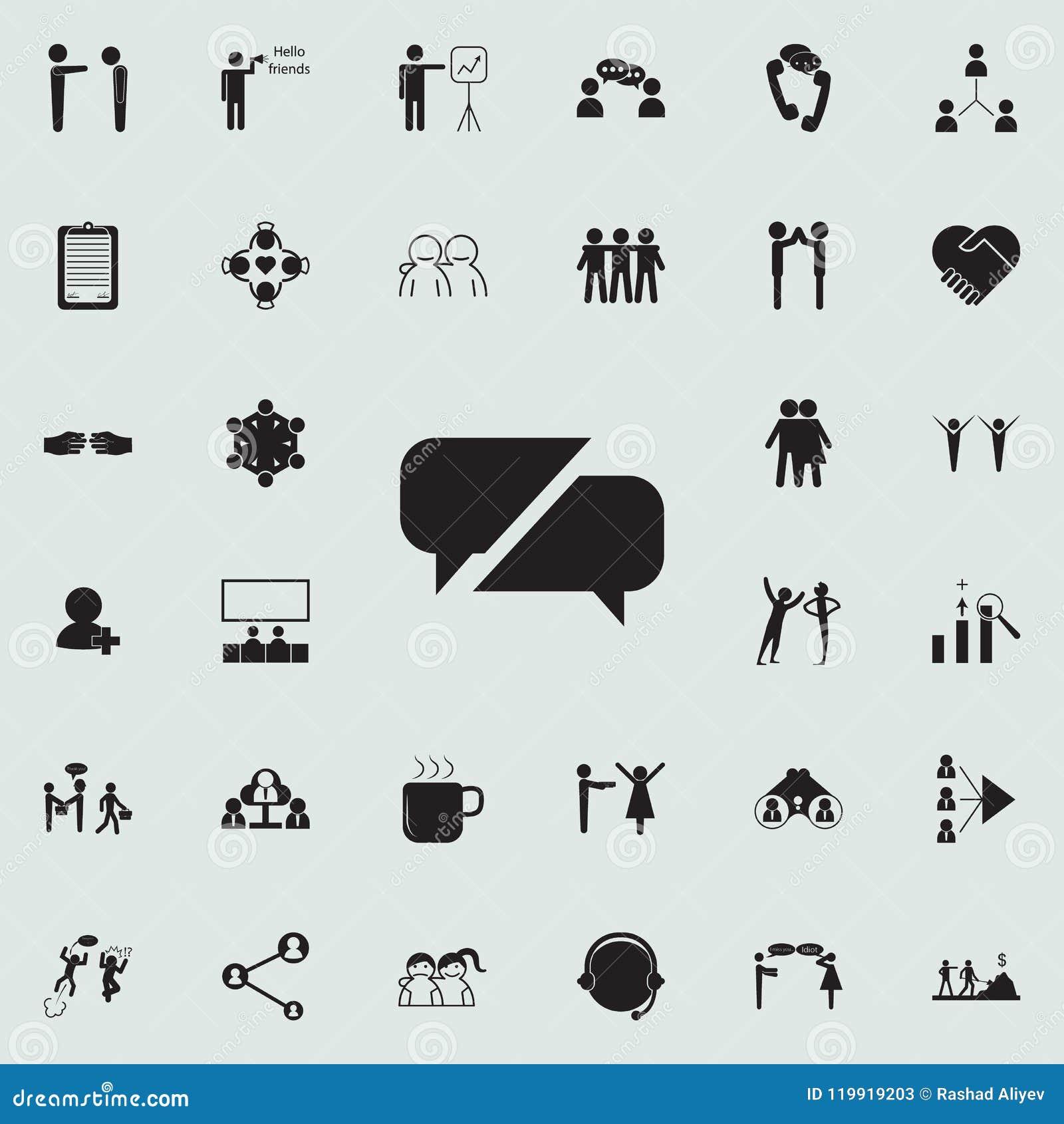 De mededeling borrelt pictogram Gedetailleerde reeks Gesprek en Vriendschapspictogrammen Grafisch het ontwerpteken van de premiek