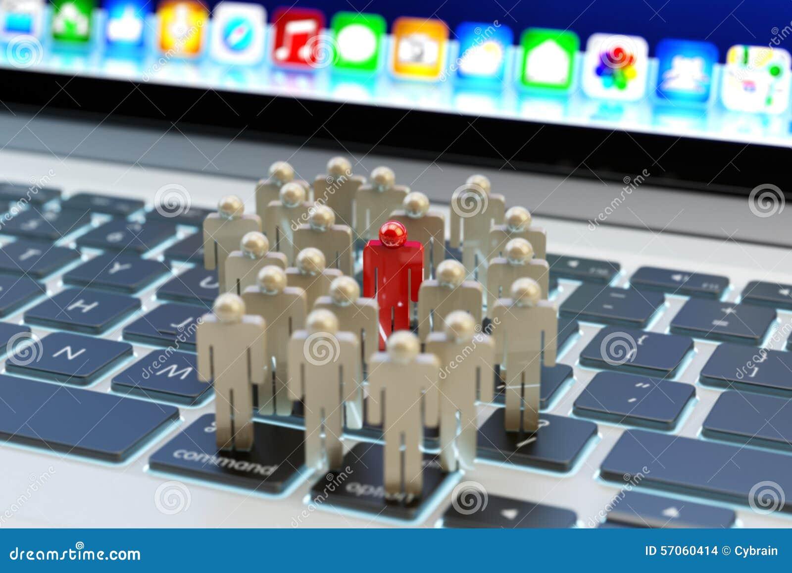 De media van Internet sociale netwerkgemeenschap en zaken die en concept op de markt brengen richten