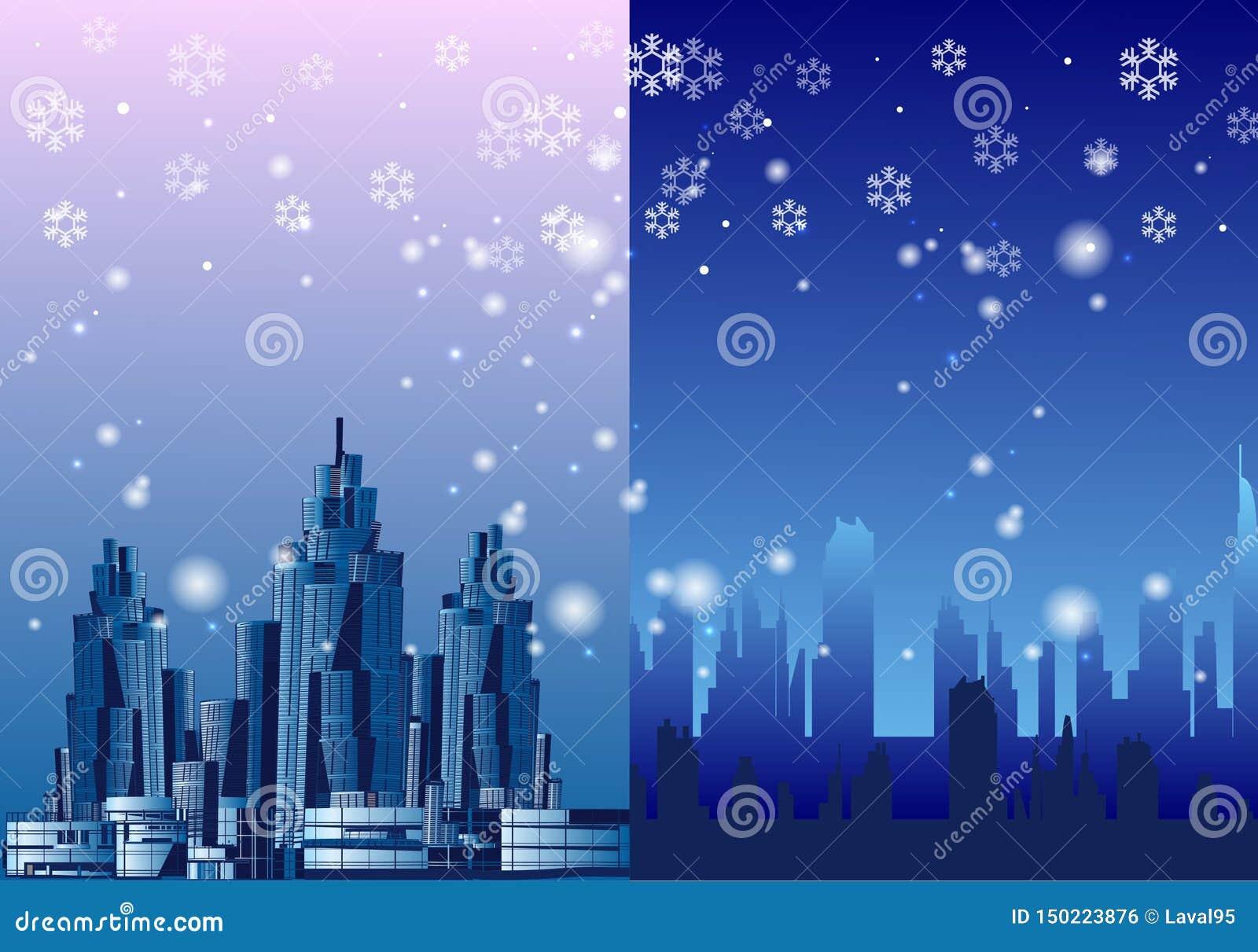 De megalopolis sneeuw, vectorillustratie van de de winterstad