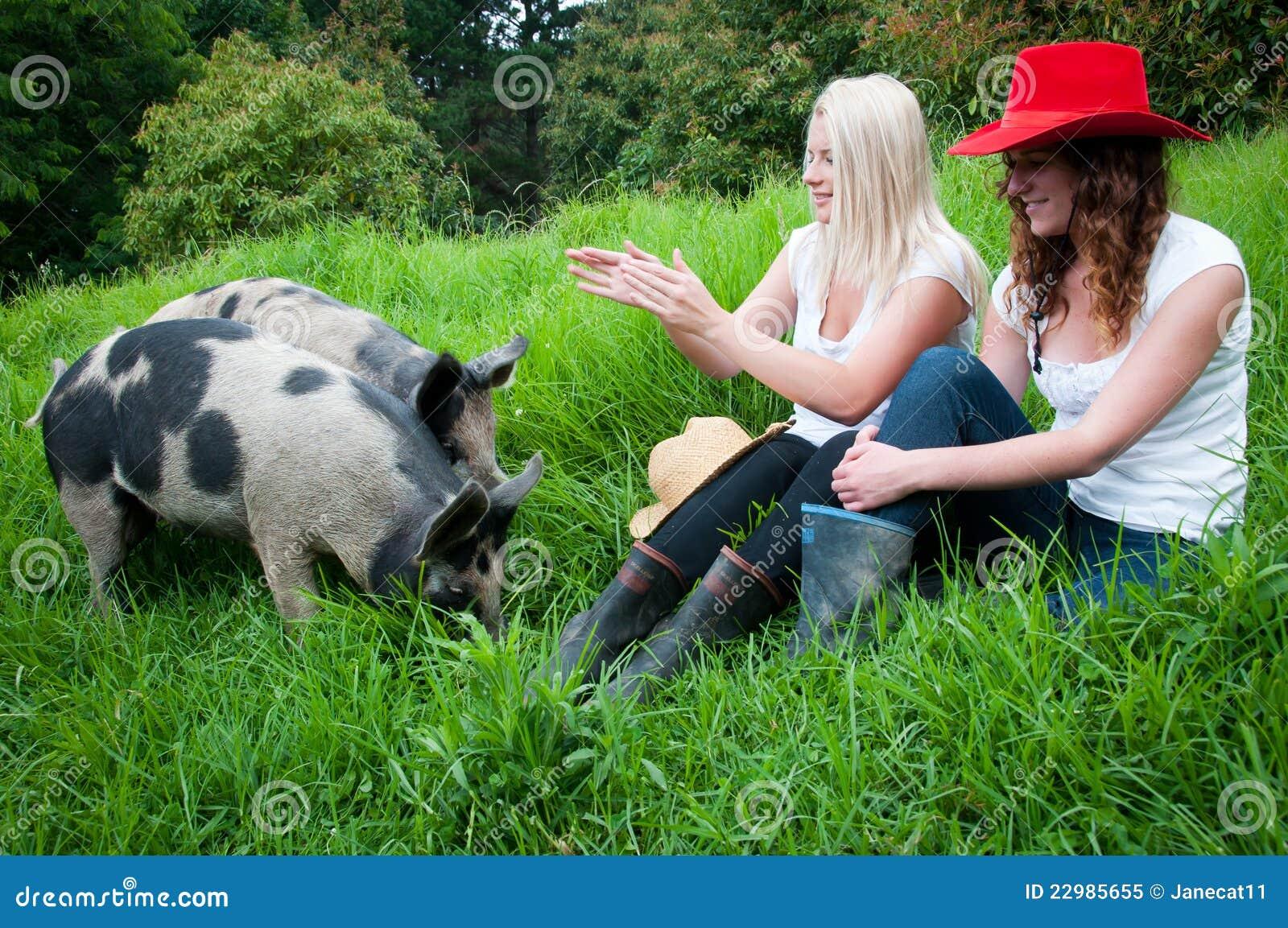 De Meisjes van het land met varkens