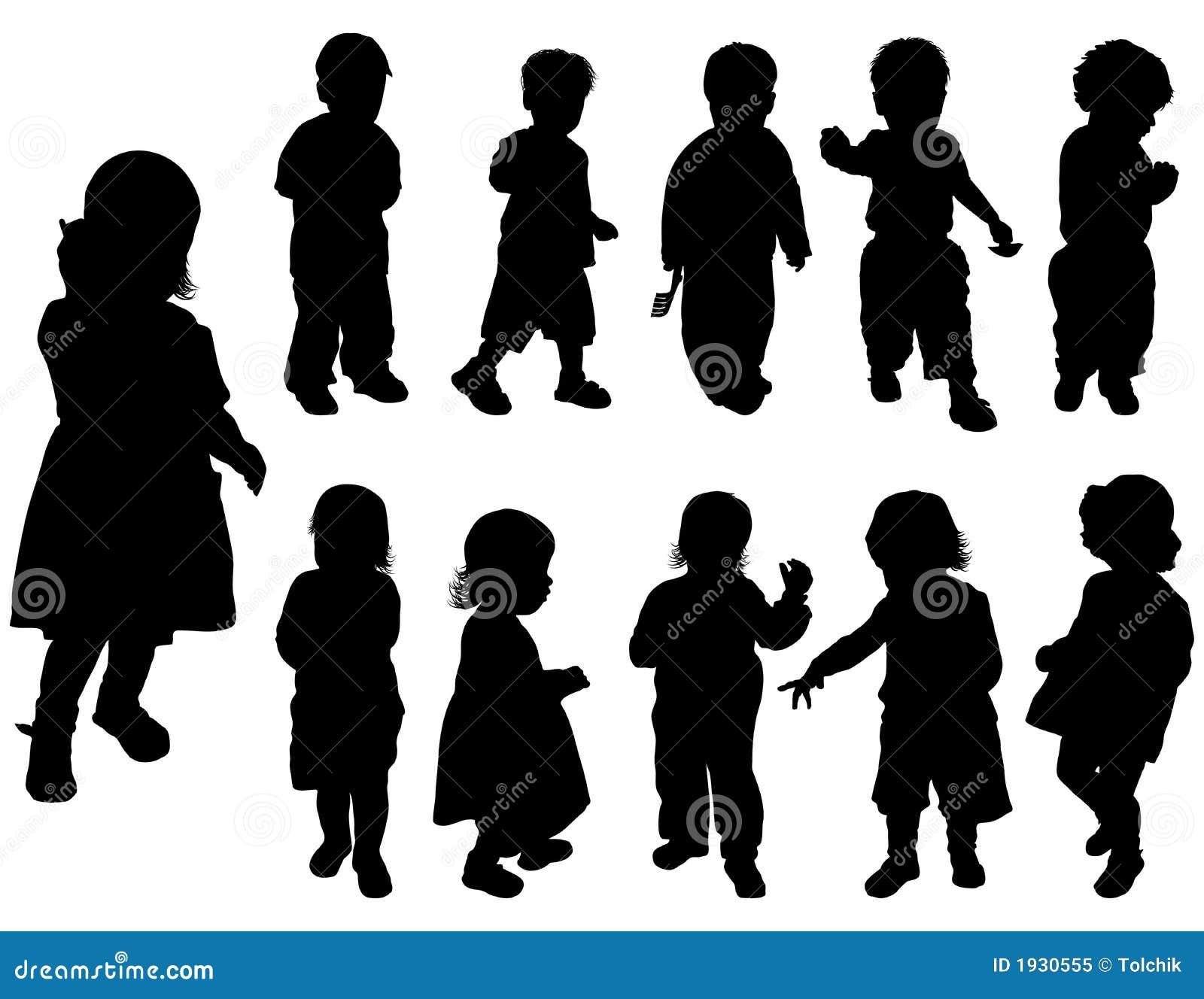 De meisjes van het silhouet en jongens vector royalty vrije stock foto beeld 1930555 - Twee meisjes en een jongen ...