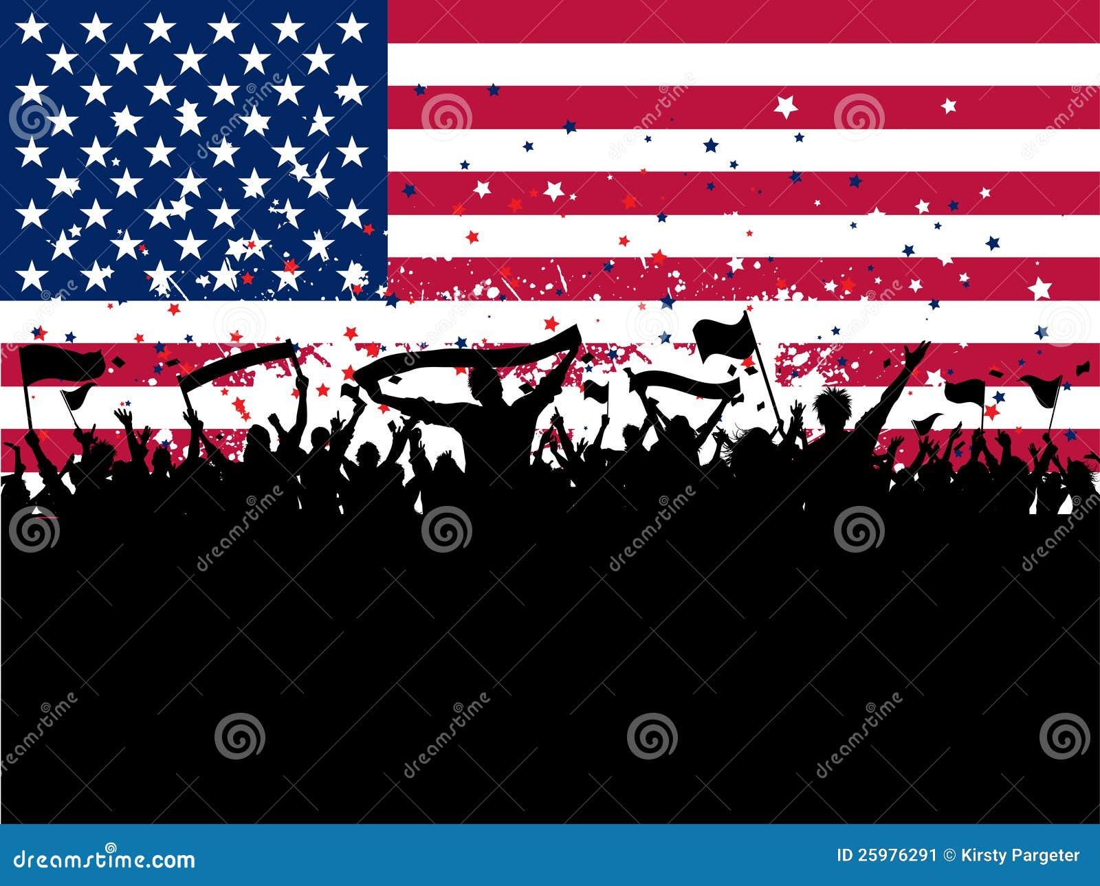 De menigte van de partij op een Amerikaanse vlagachtergrond