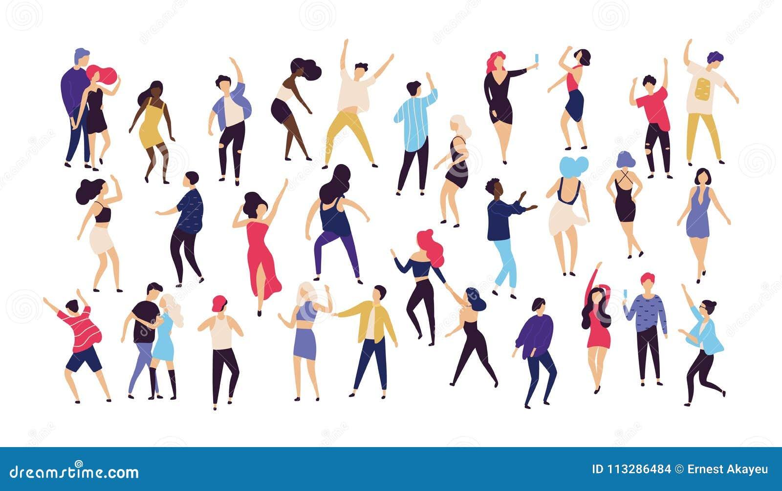 De menigte van jonge mannen en vrouwen kleedde zich in in kleren die bij club of muziekoverleg dansen Grote groep mannetje en wij