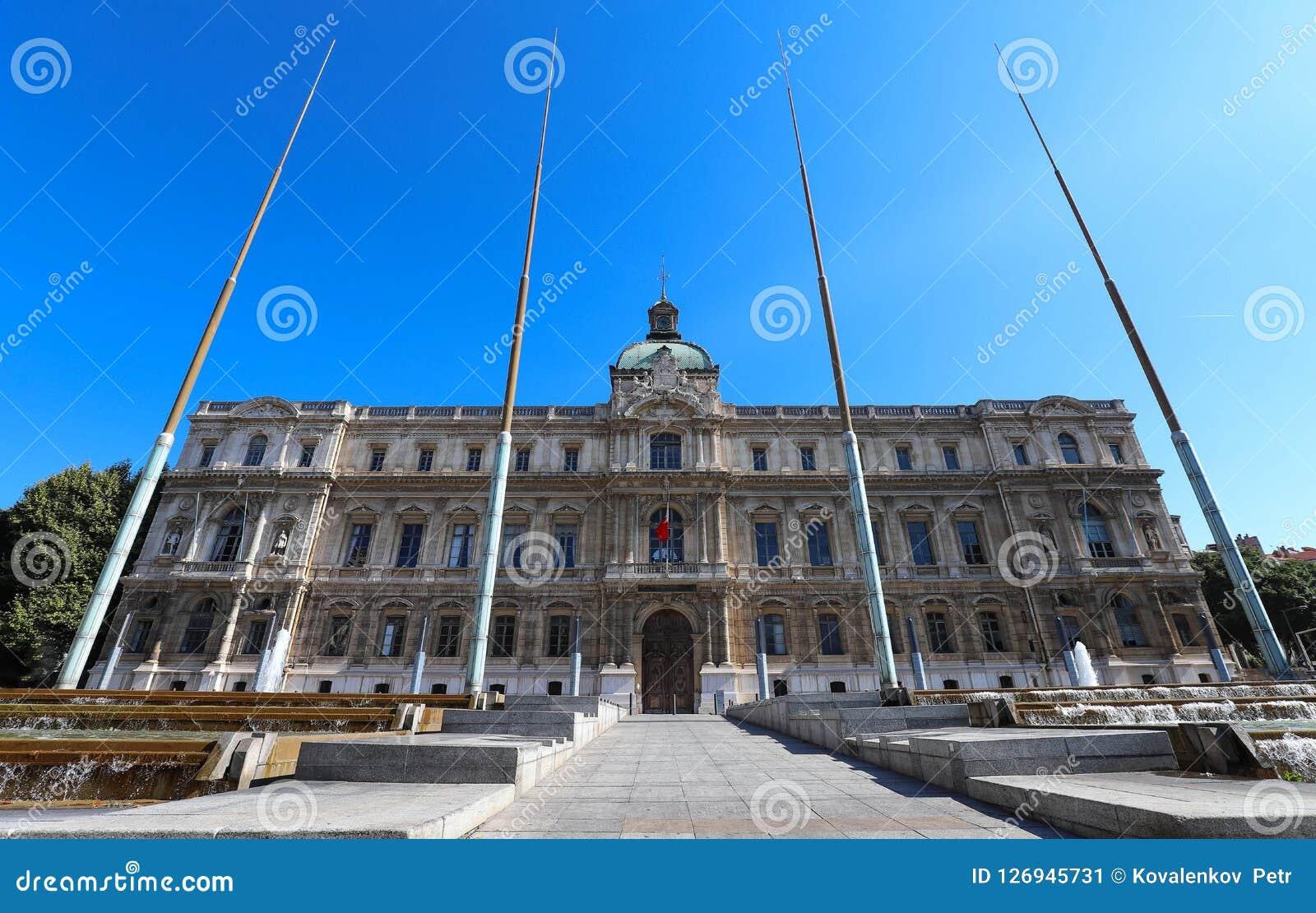 De mening van de bouw van de Prefectuur van Marseille, Frankrijk