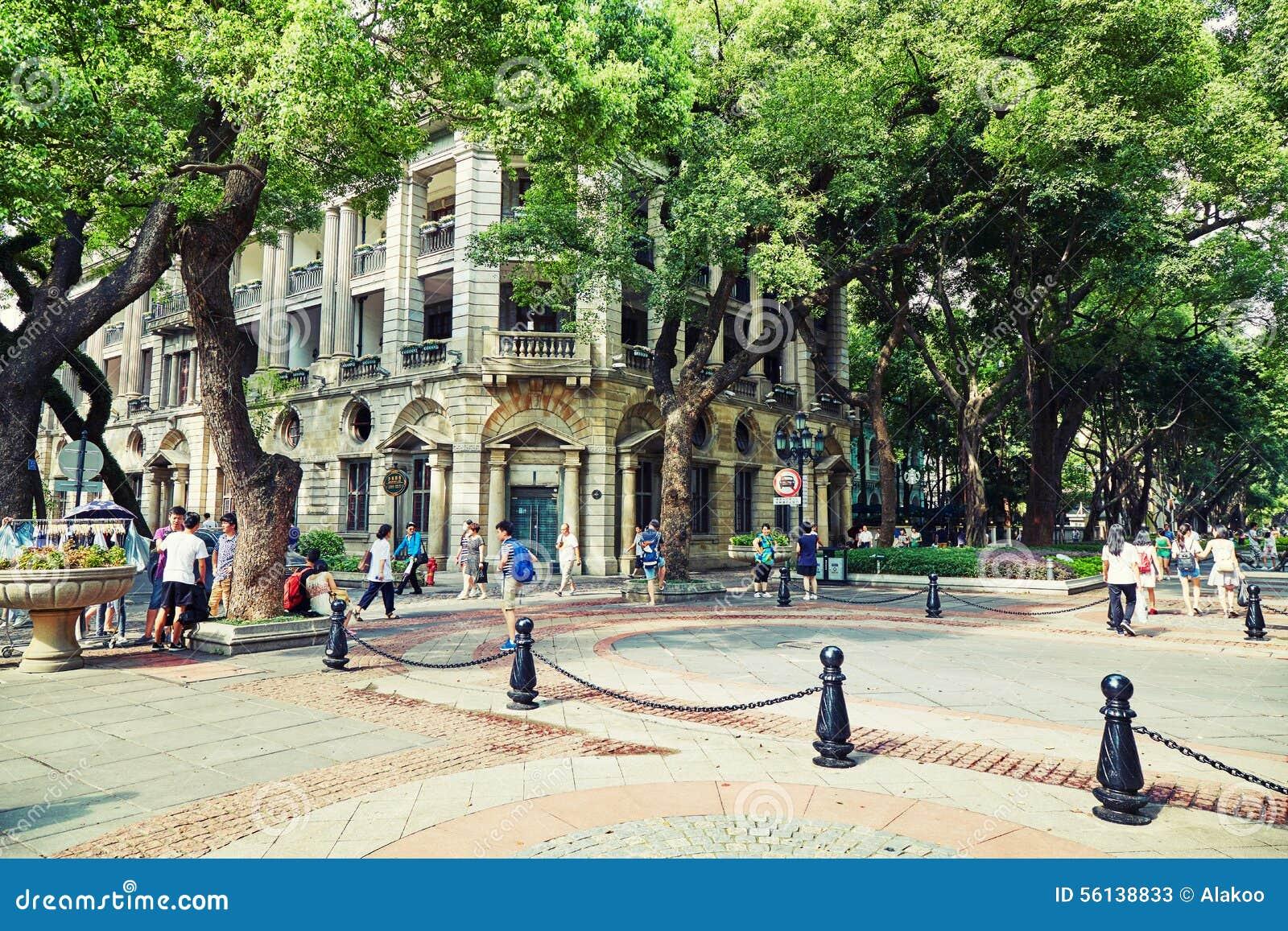 De mening van de stadsstraat in Guangzhou China