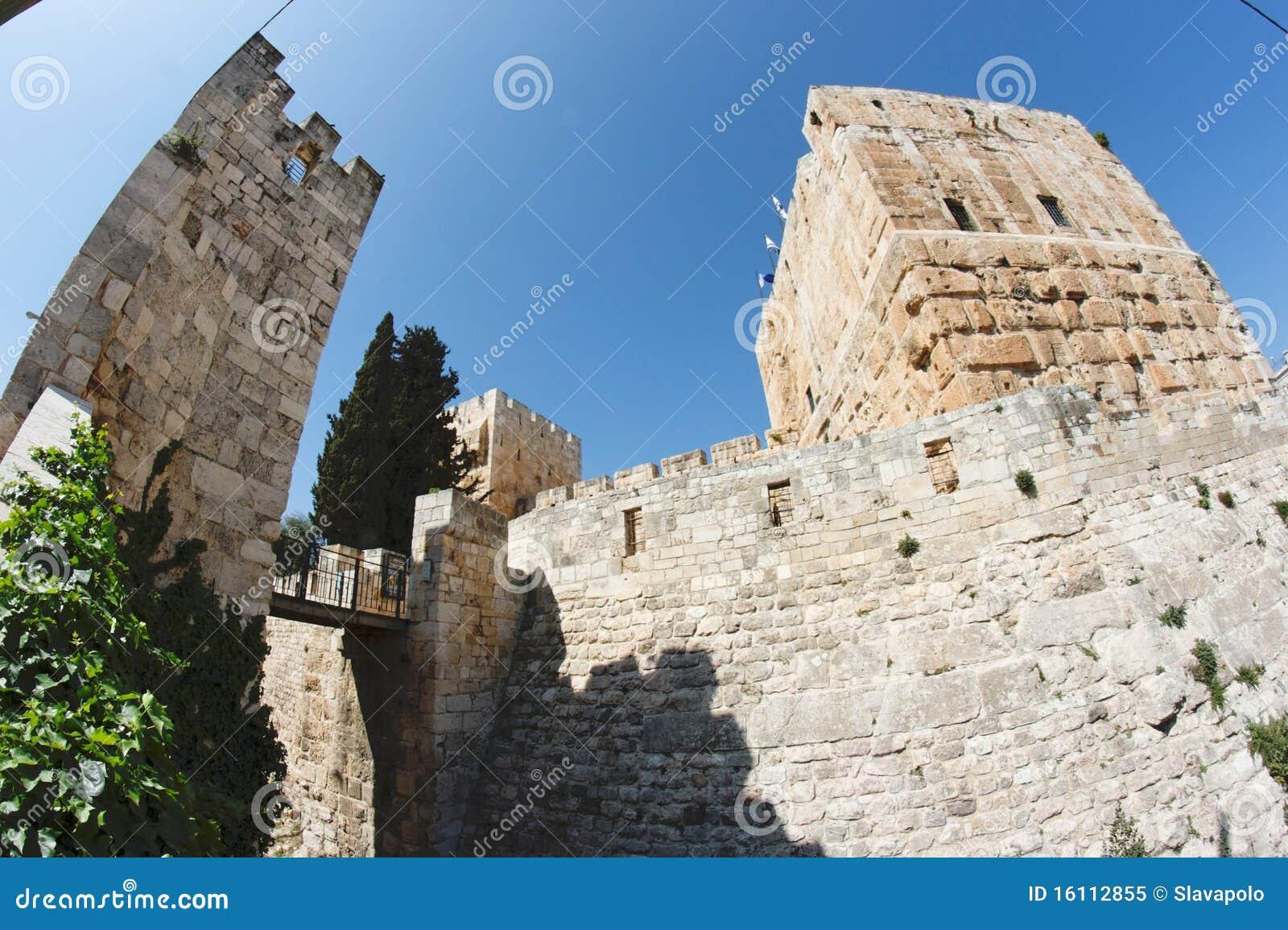 De mening van Fisheye van een oude citadel in Jeruzalem
