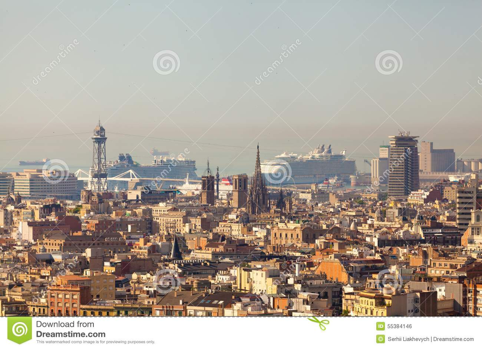 De mening van het panorama van Barcelona