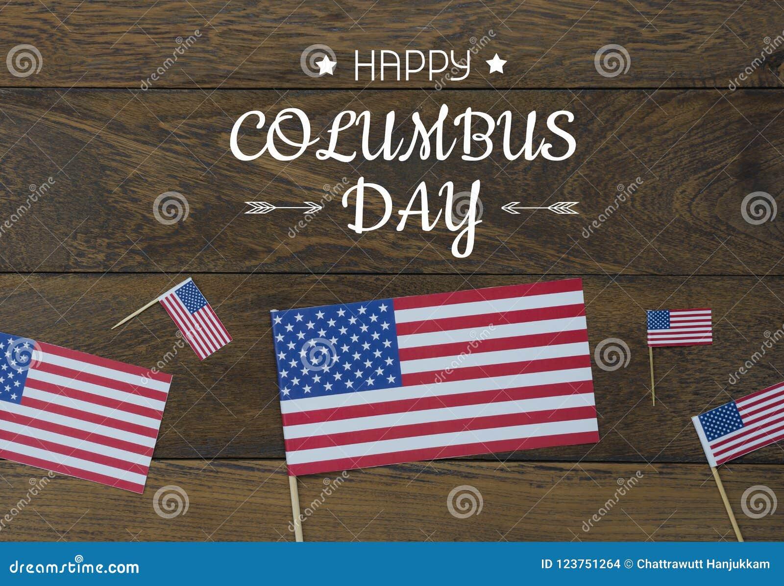 De menings luchtbeeld van de lijstbovenkant van decoratie het teken van de Gelukkige Columbus dag van de V.S. op 8,2018 Oct