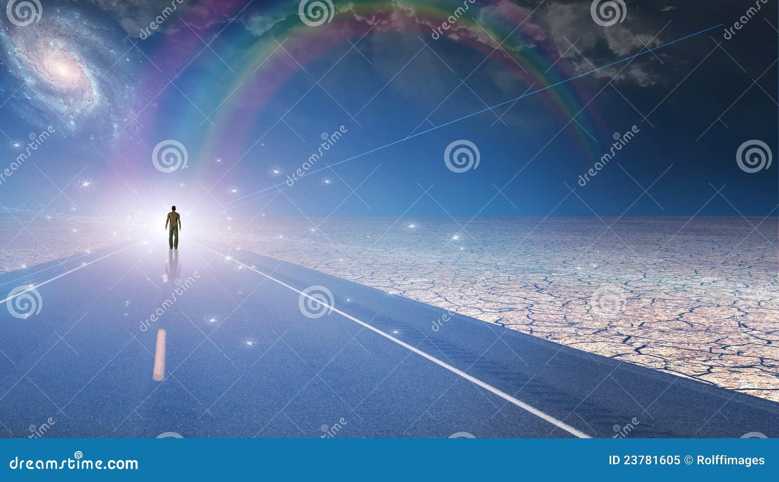 De mens baadde in licht en rijweg