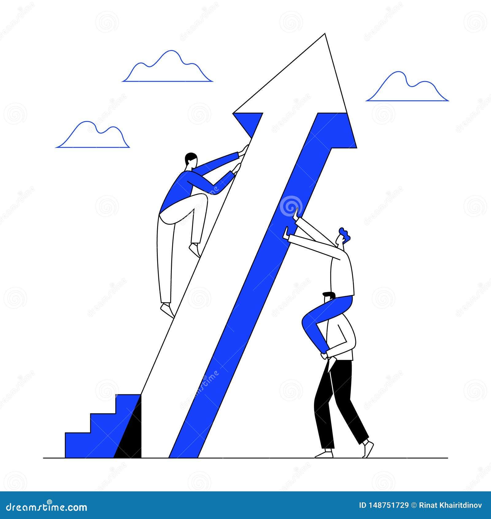 De mens beklimt de het toenemen pijl met groepswerkhulp aan succes De bedrijfsgroei, vooruitgangsconcept Lijn met editable slag V