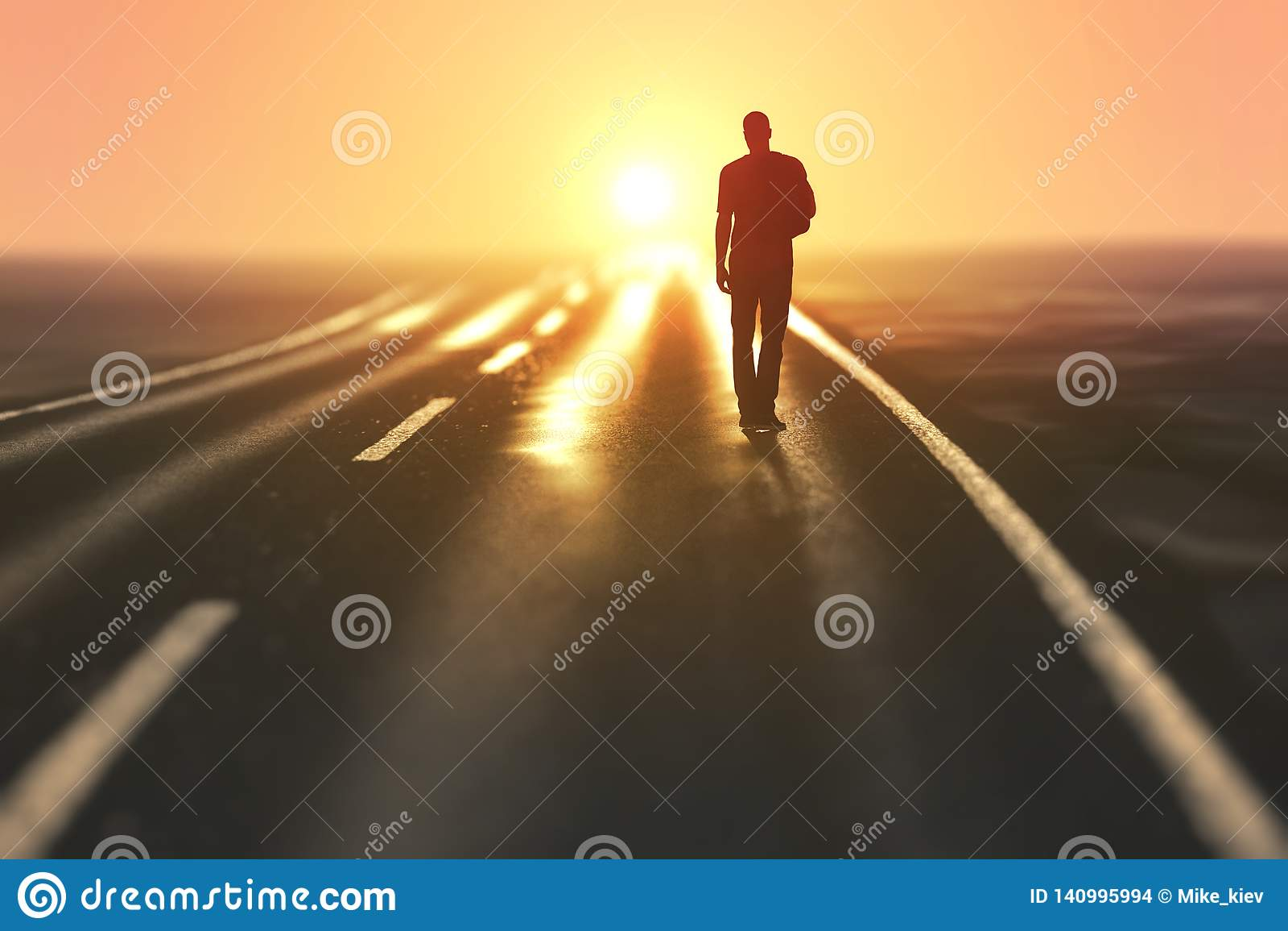 De mens gaat op een weg