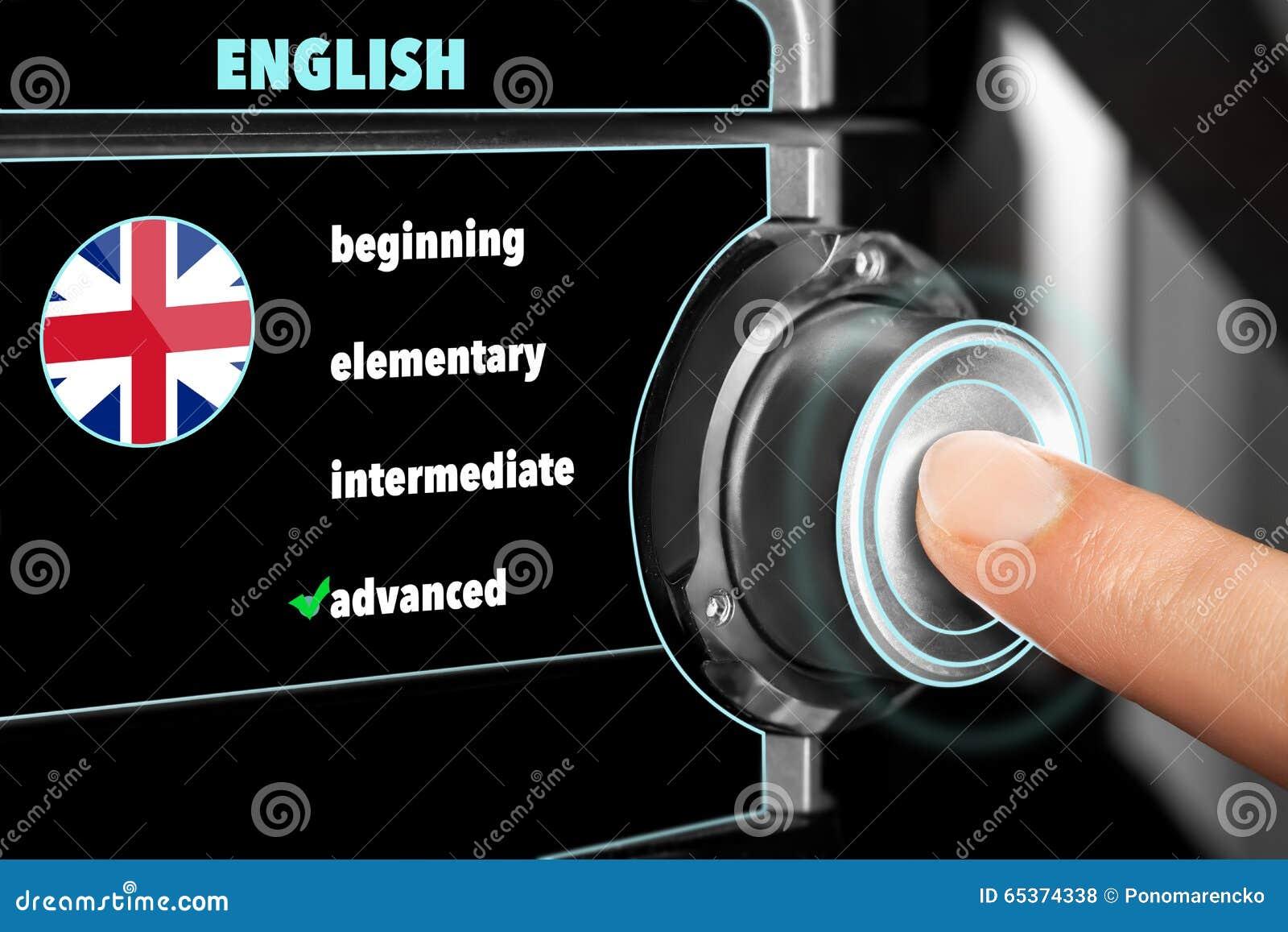 De mens kiest een geavanceerd niveau van kennis van Engelse langua