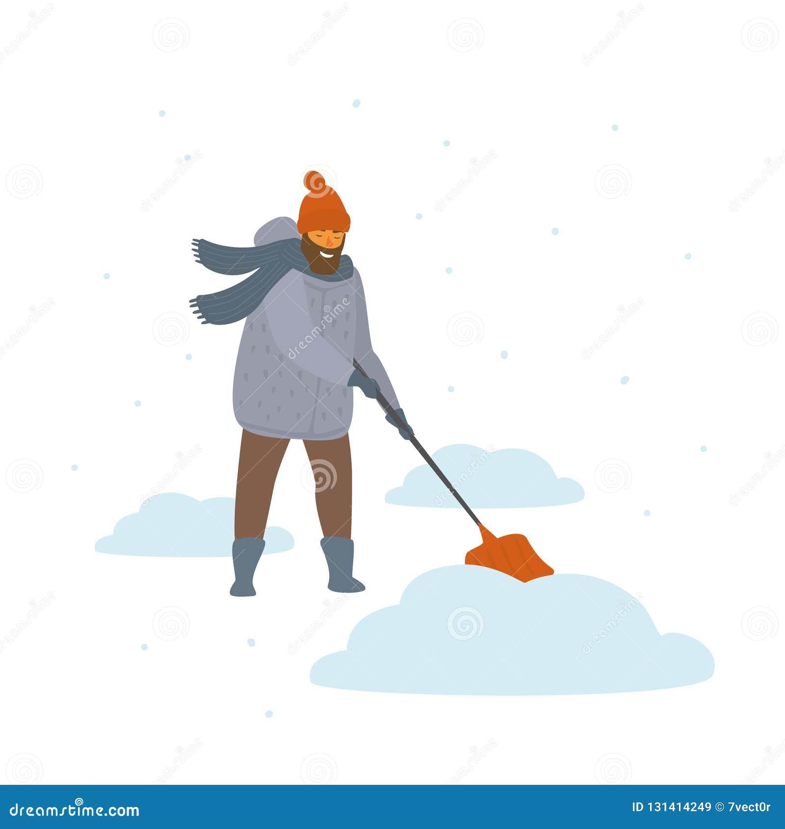 De mens maakt het scheppen van de geïsoleerde vectorillustratie van sneeuwafwijkingen beeldverhaal schoon