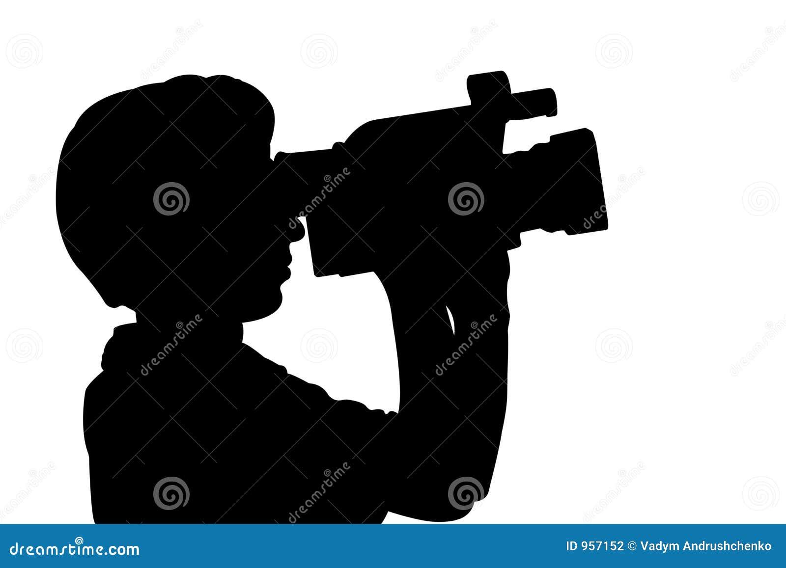 De mens van het silhouet met videocamera