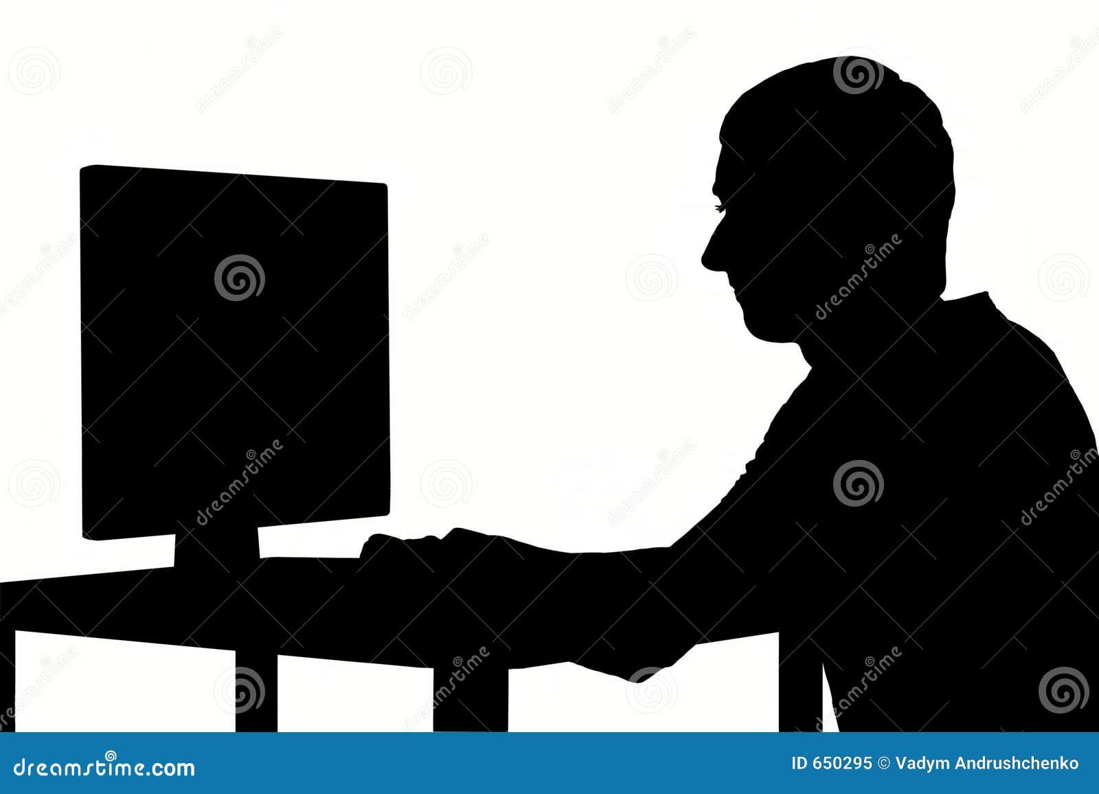 De mens van het silhouet op het werk