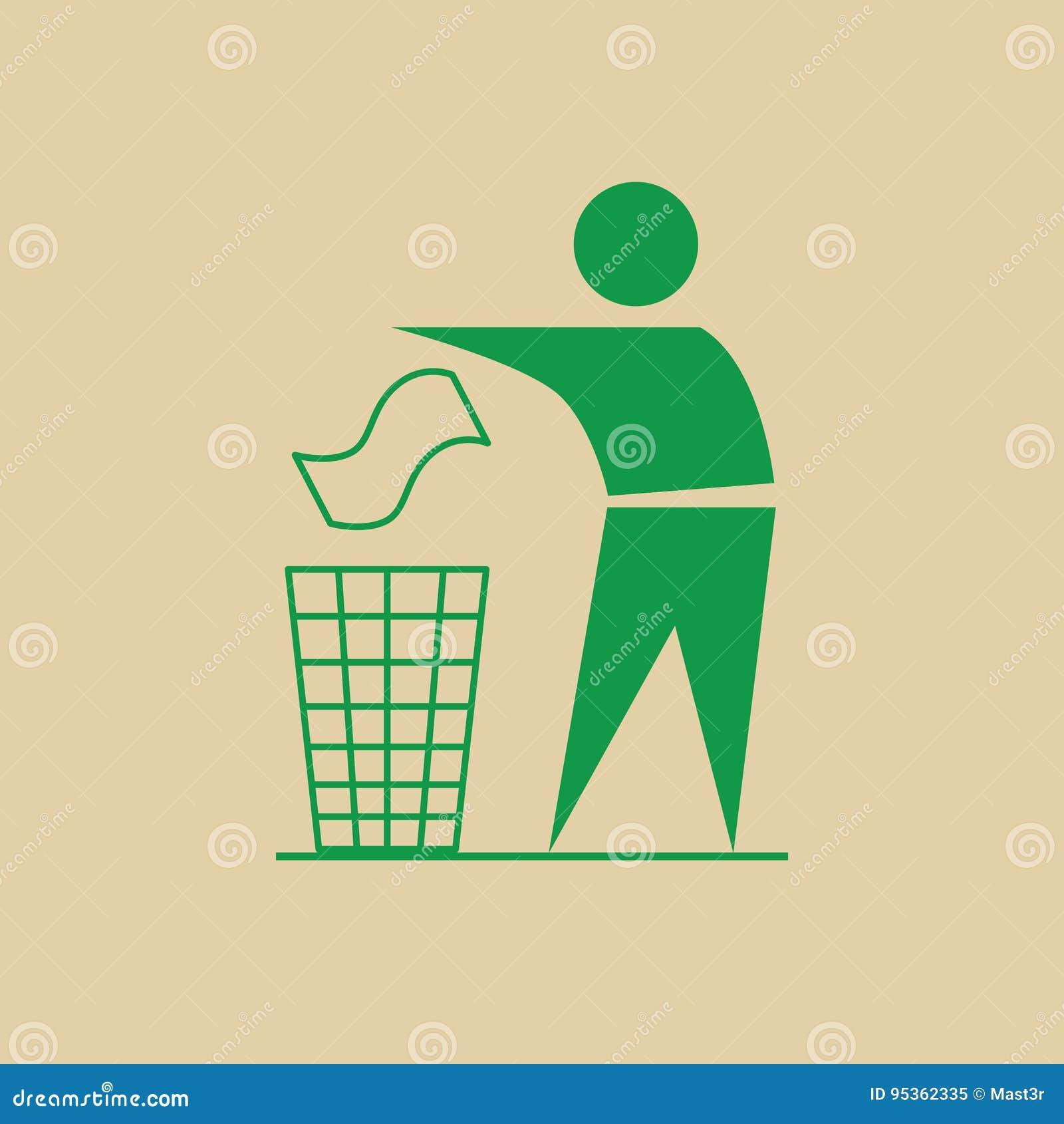 De mens werpt Vuilnis in Bak Kringloopgebruik Logo Web Icon