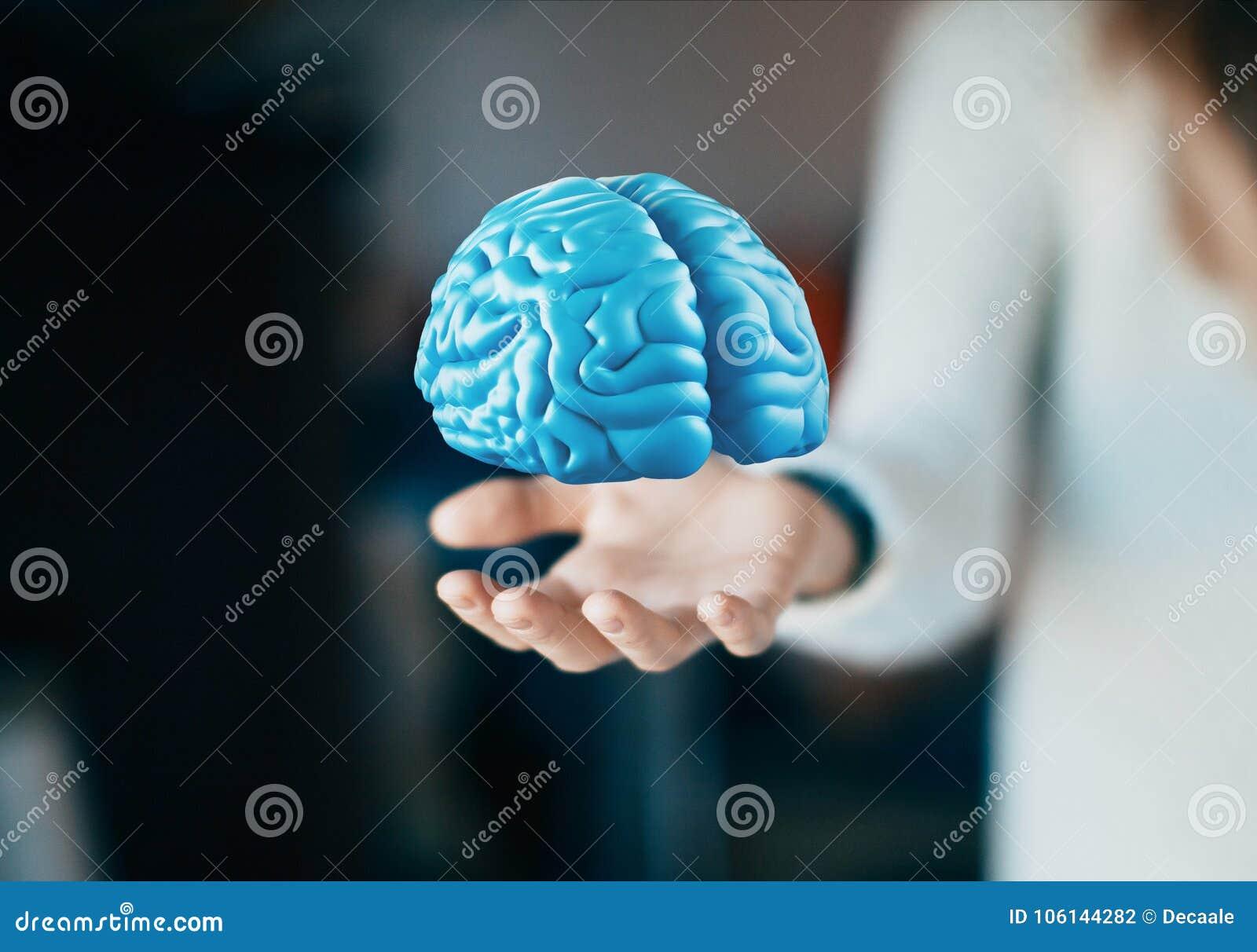 De menselijke hersenen op hand, denken, tumor, ideeën