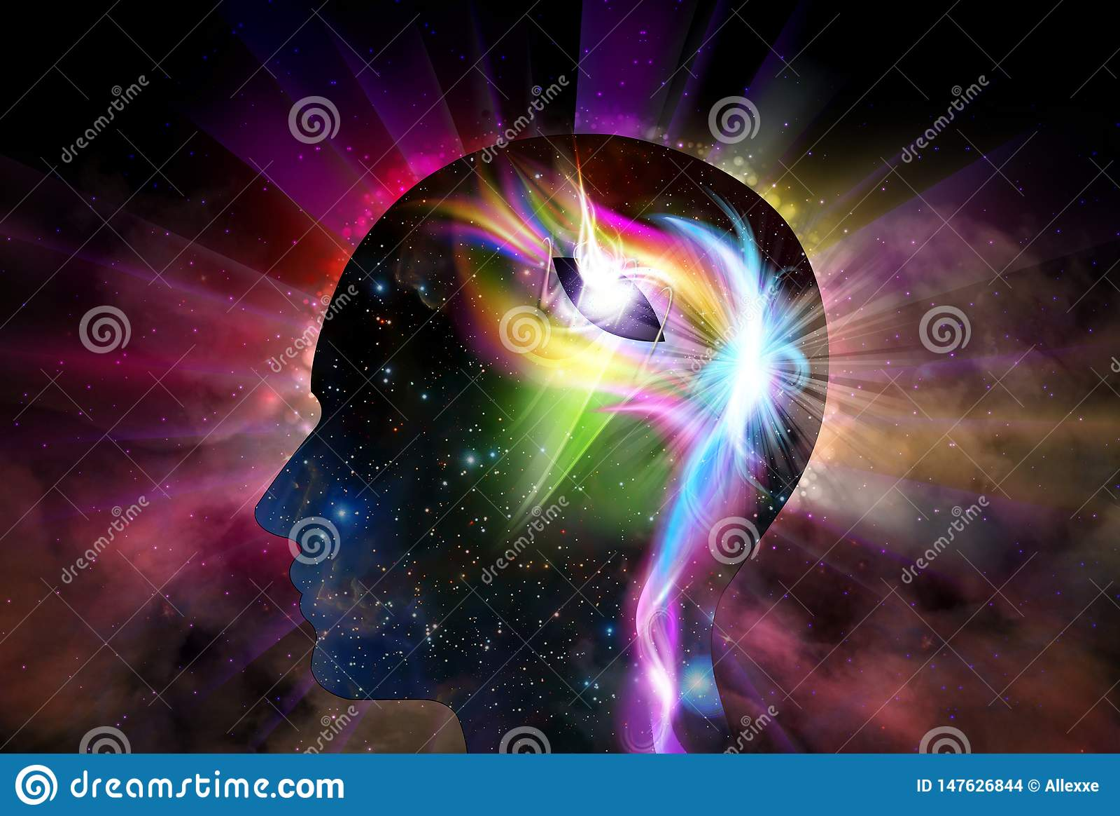 De menselijke Hoofdspiritualiteit van het de Verlichtingsbewustzijn van de Heelalinspiratie