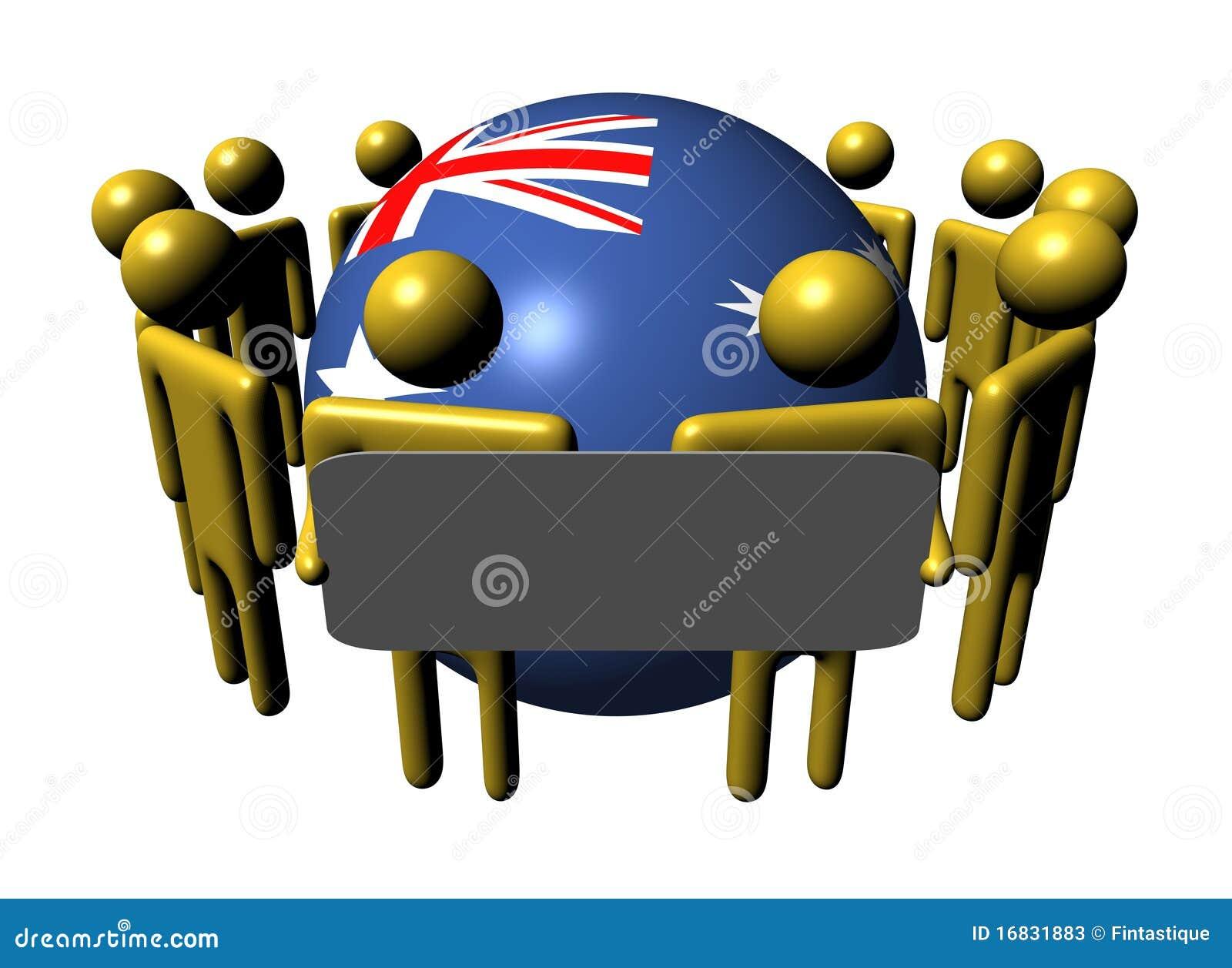 De mensen met teken en Australië markeren gebied