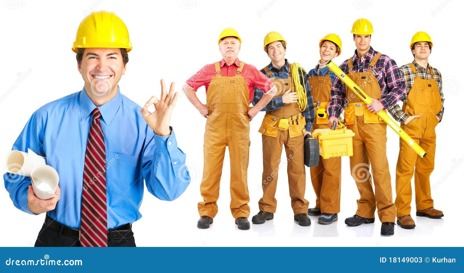 De mensen van contractanten