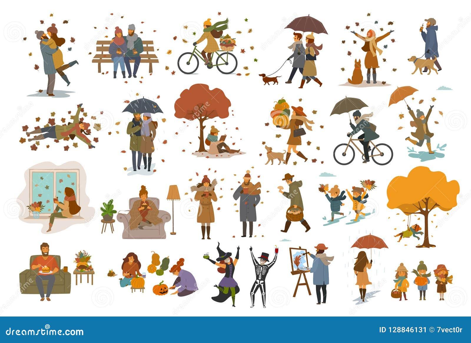 De mensen van de dankzeggingshalloween van de de herfstdaling openlucht en thuis reeks van de beeldverhaal de vectorillustratie