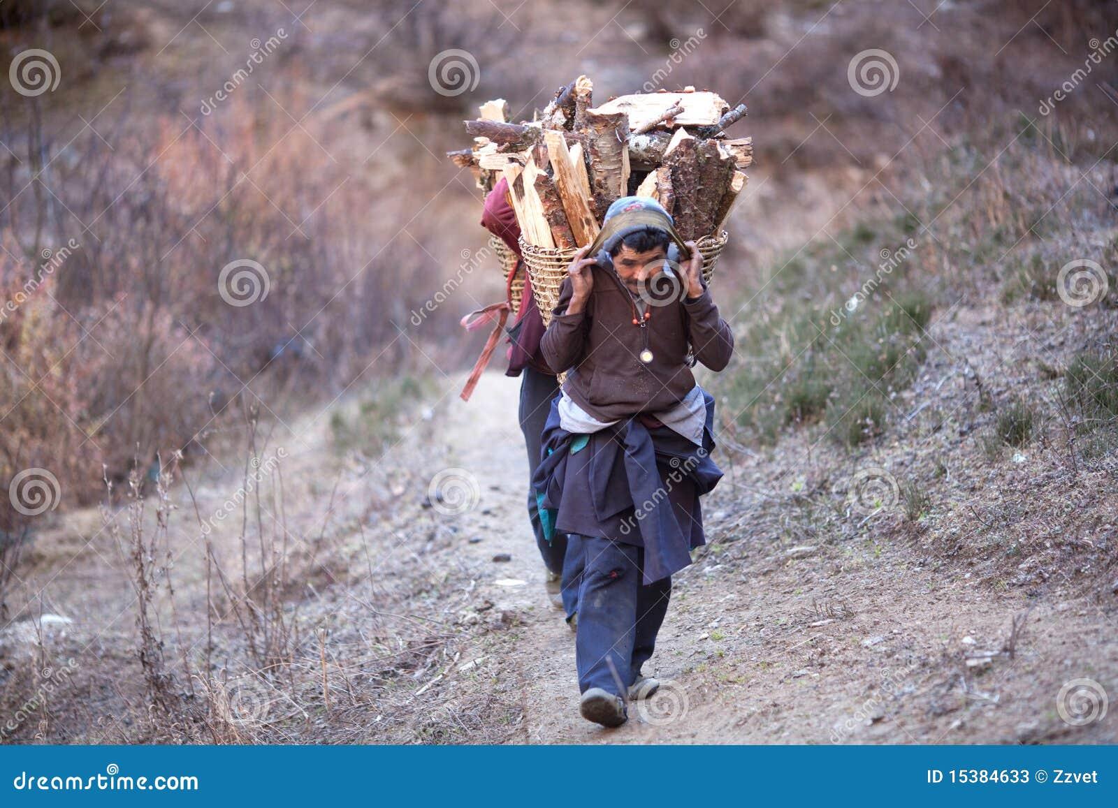 De Mensen Van Gorkhas Dragen Zware Mand In Het Himalayagebergte Redactionele Stock Foto