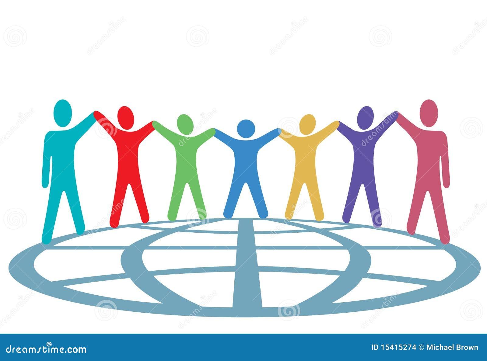 De Mensen van kleuren houden Handen en Wapens op Bol omhoog