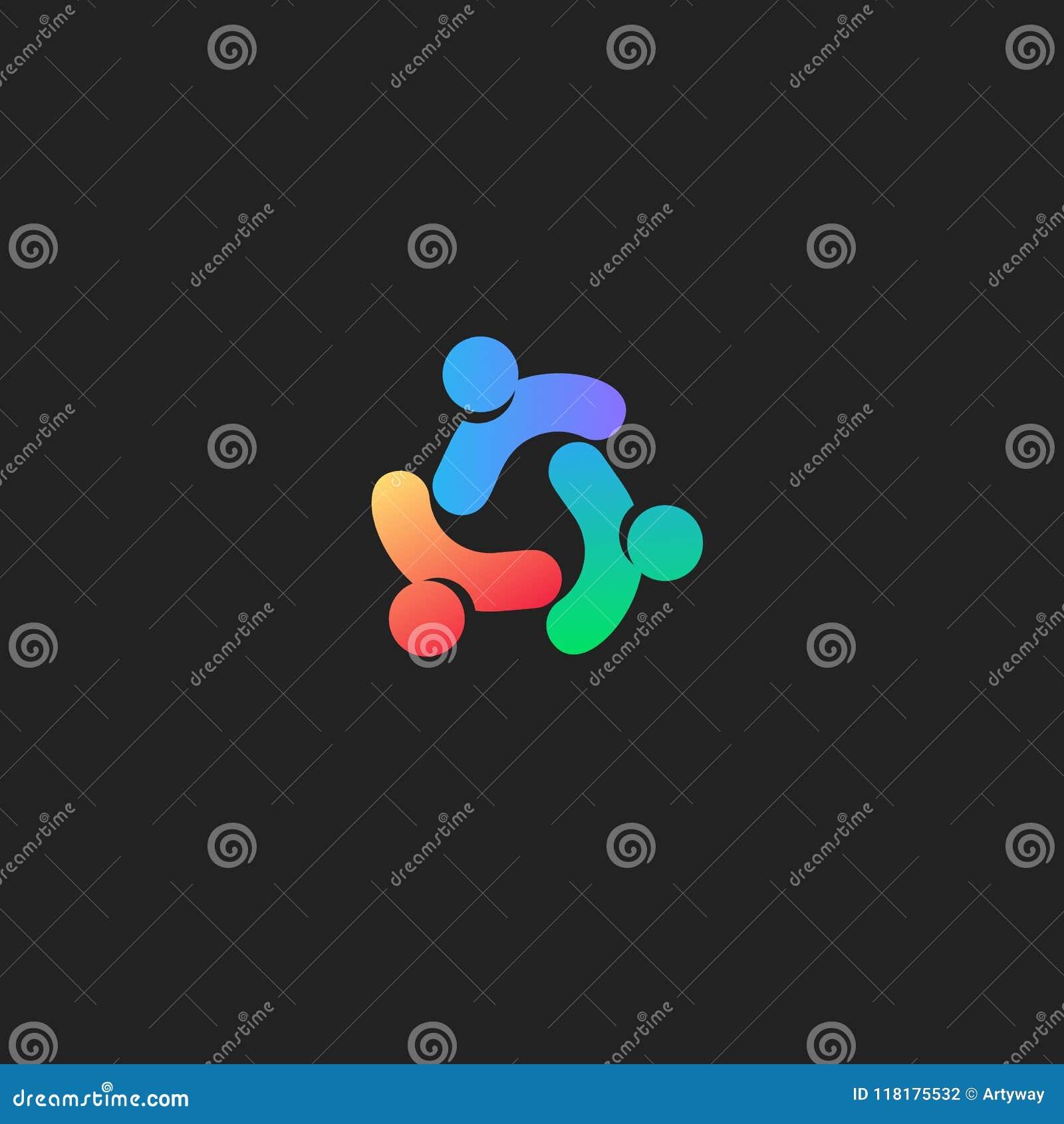 De mensen verbinden abstract embleem Zorgsymbool Het vectorpictogram van de mensenunie op zwarte achtergrond