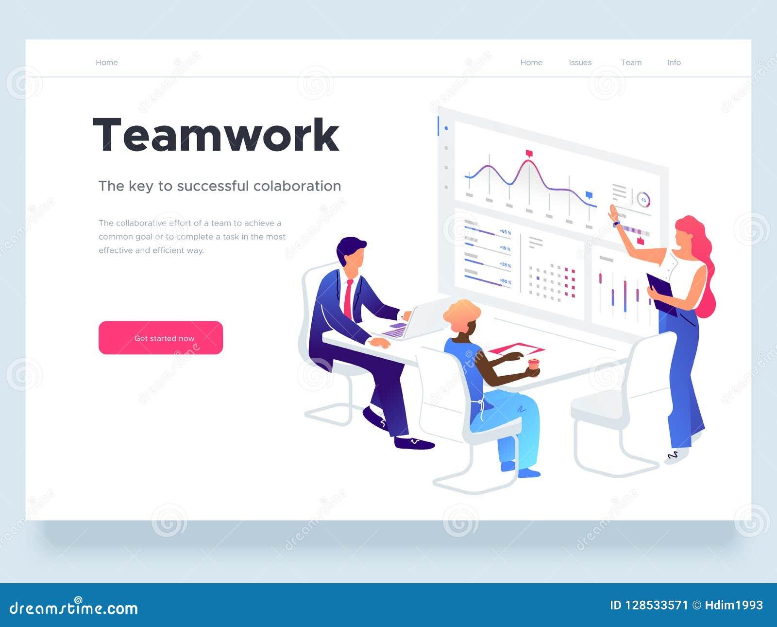 De mensen werken in een team en gaan met grafieken interactie aan Zaken, werkschemabeheer en bureausituaties Landende Pagina