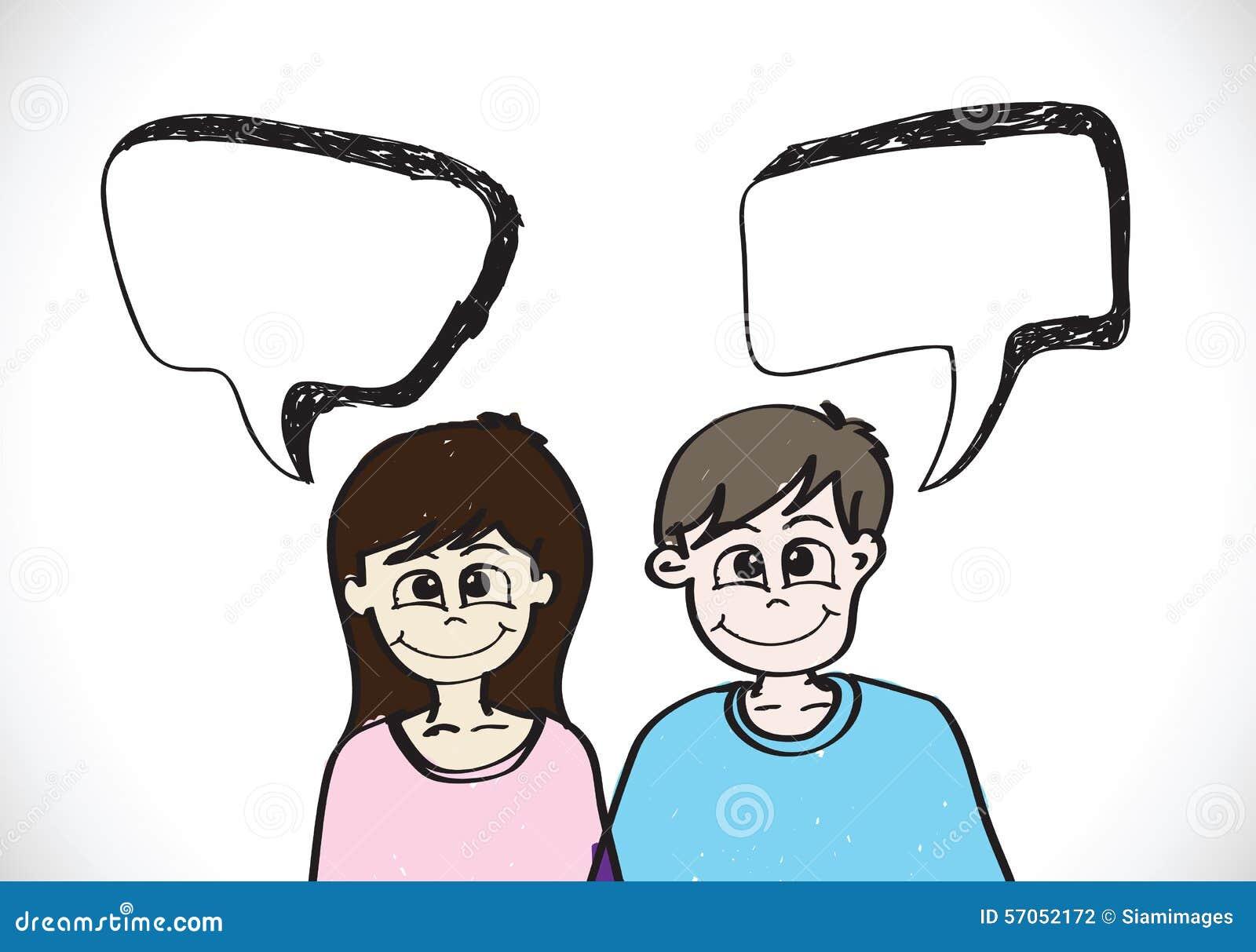 De mensen zien emotiespictogrammen met de bellen van de dialoogtoespraak onder ogen