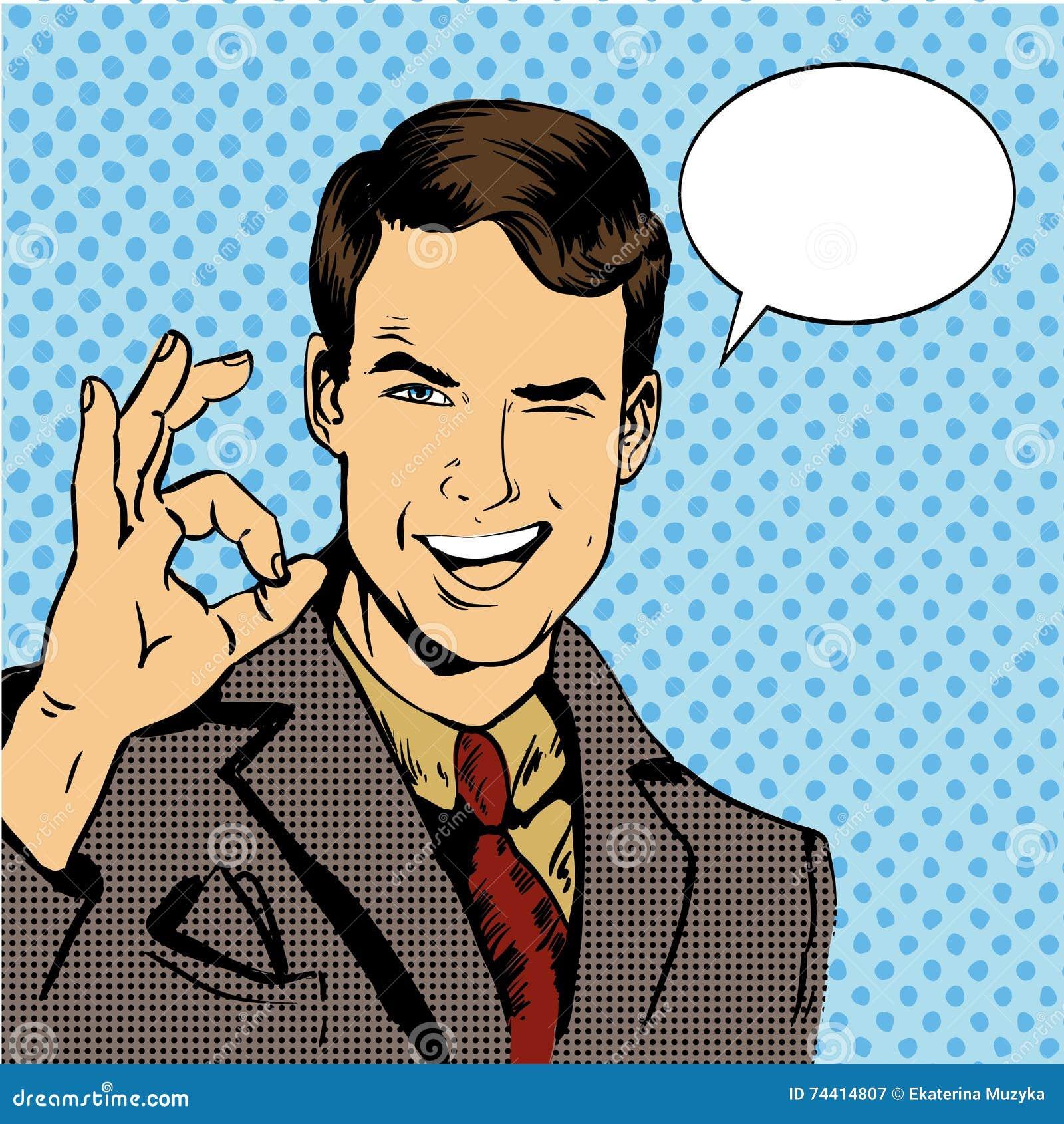 De mensenglimlach en toont O.K. handteken met toespraakbel Vectorillustratie in retro grappige pop-artstijl